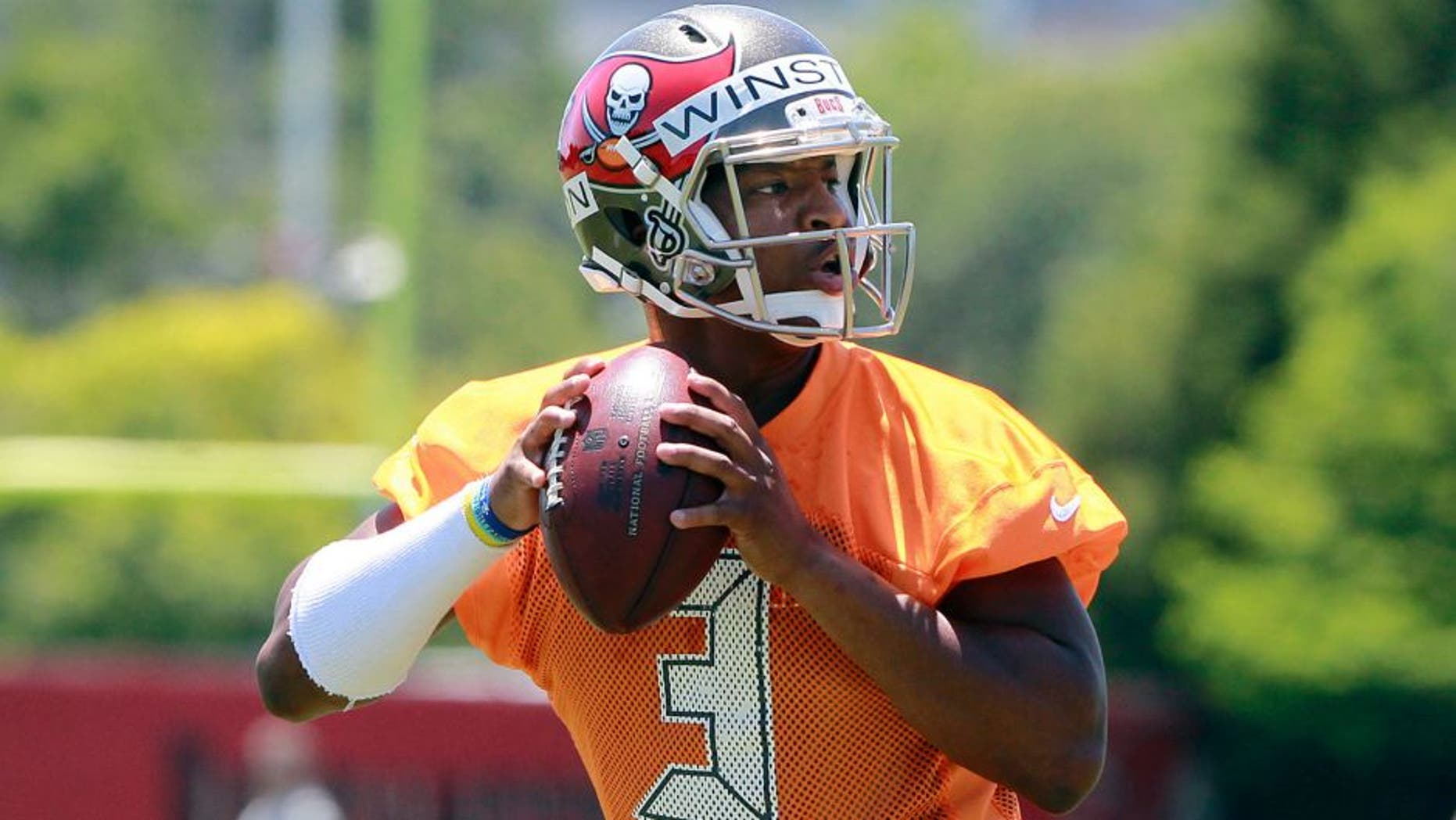 May 8, 2015; Tampa, FL, USA; Tampa Bay Buccaneers quarterback Jameis Winston (3) works out for rookie mini camp at One Buc Place. Mandatory Credit: Kim Klement-USA TODAY Sports