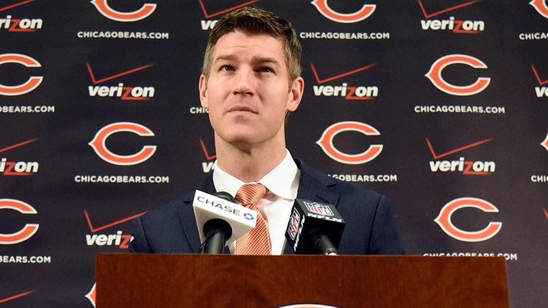 CHICAGO, IL- JANUARY 19: Chicago Bears general manager Ryan Pace introduces new head coach John Fox on January 19, 2015 at Halas Hall in Lake Forest, Illinois. (Photo by David Banks/Getty Images)