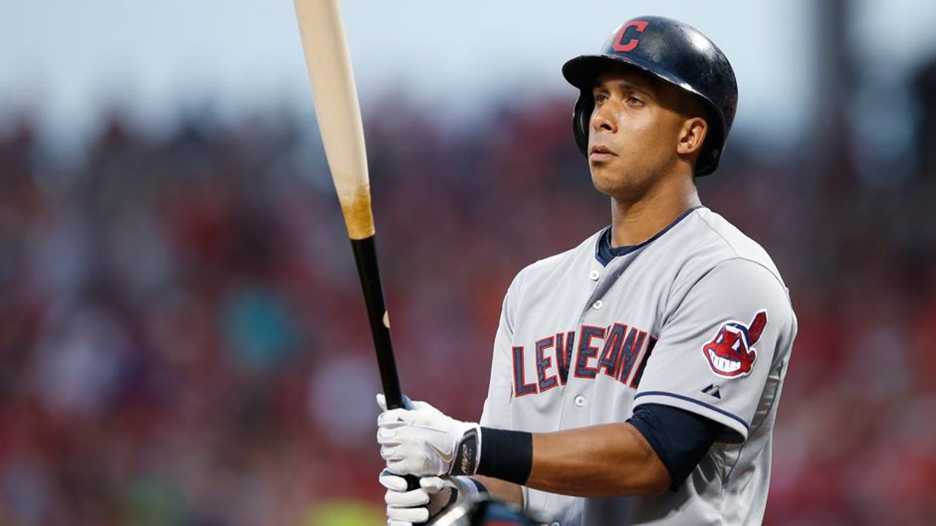 CINCINNATI, OH - JULY 17: Michael Brantley #23 of the Cleveland Indians looks on before batting against the Cincinnati Reds during the game at Great American Ball Park on July 17, 2015 in Cincinnati, Ohio. The Reds defeated the Indians 6-1. (Photo by Joe Robbins/Getty Images)