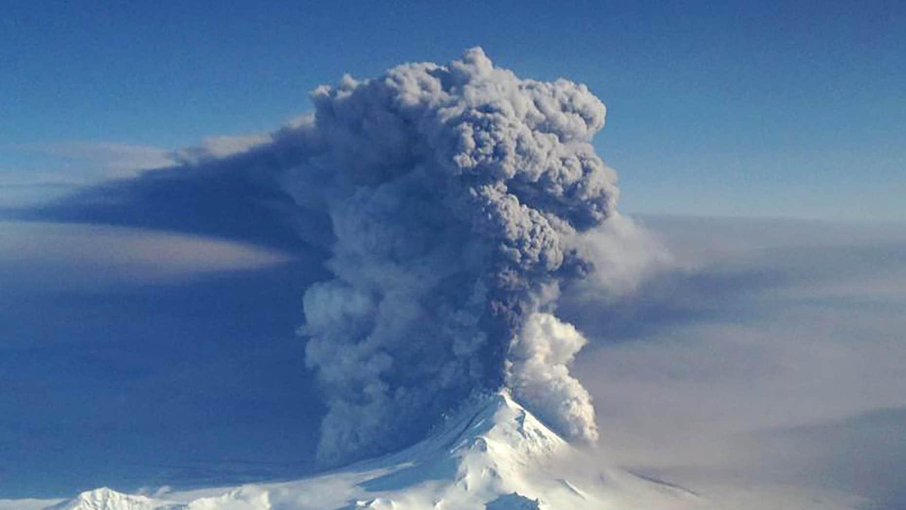 April 6, 2016: File handout photo of the Pavlof Volcano erupting in Alaska.