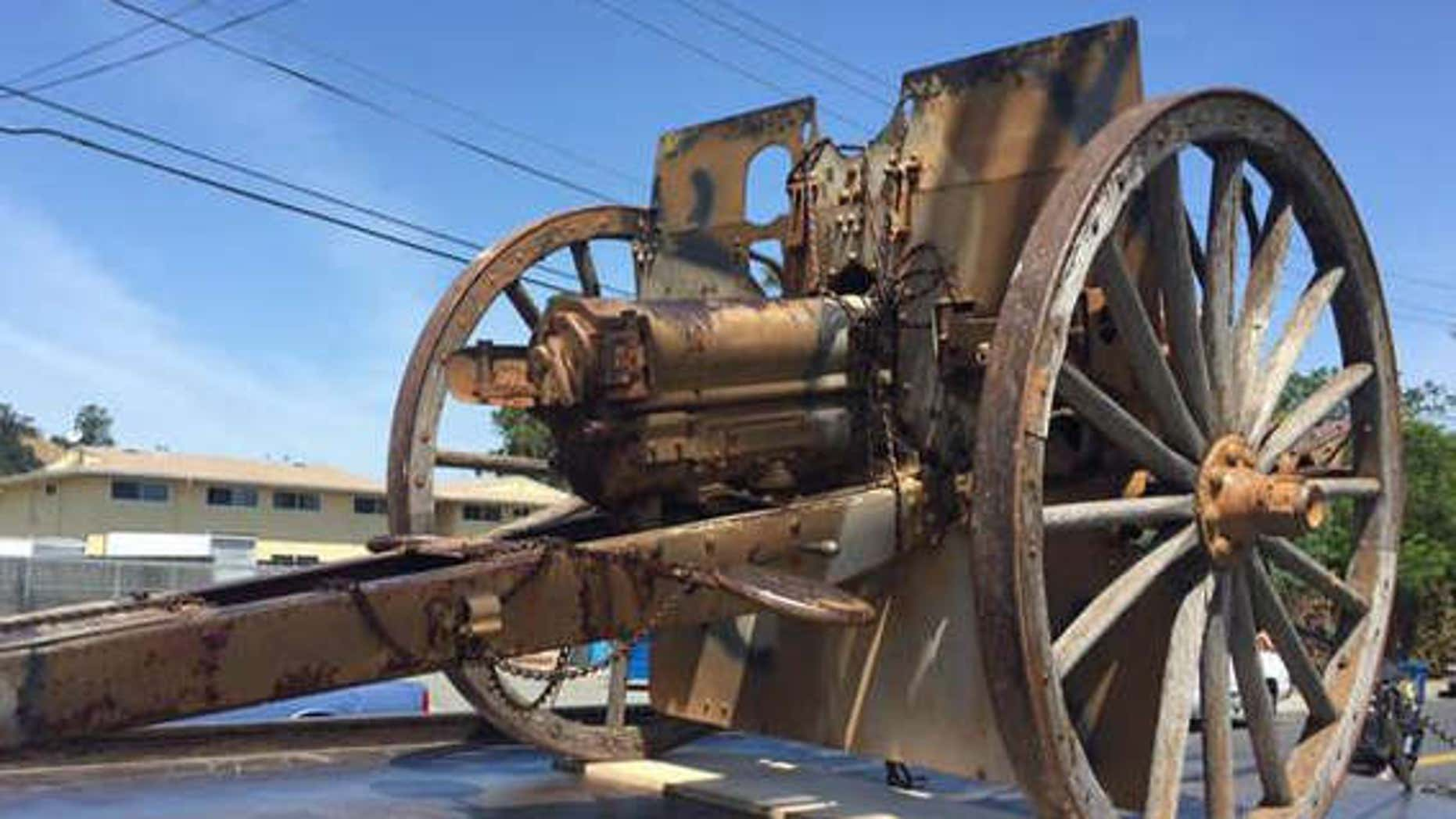 Picture shows the cannon that was stolen from a California veterans hall.