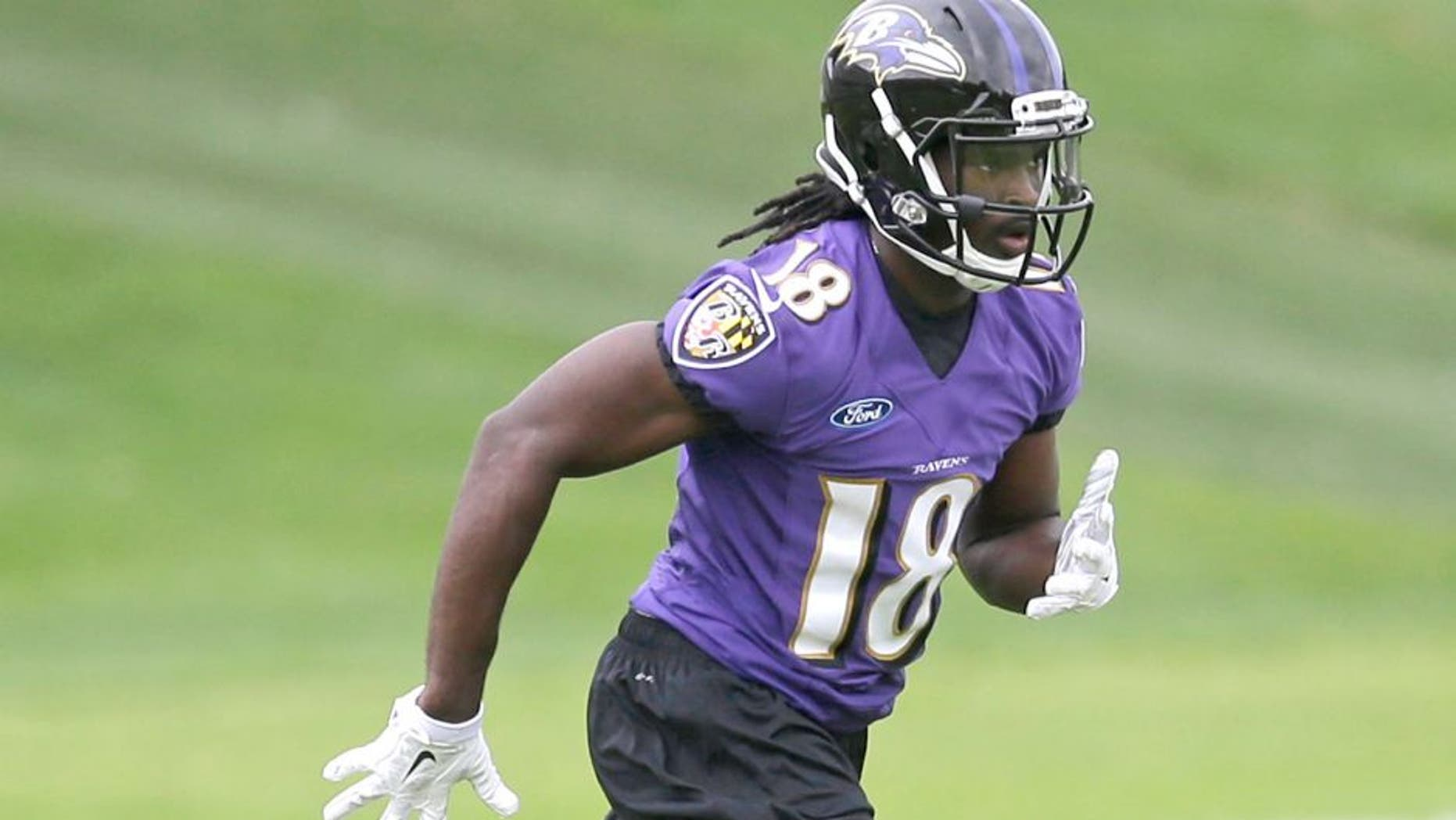 Baltimore Ravens wide receiver Breshad Perriman runs a drill at an NFL football rookie camp, Saturday, May 9, 2015, in Owings Mills, Md. (AP Photo/Patrick Semansky)