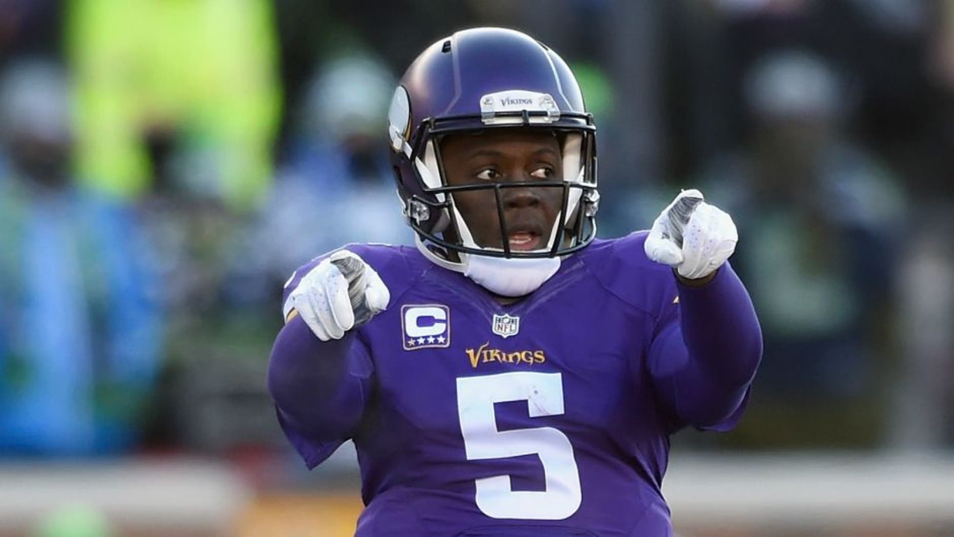 MINNEAPOLIS, MN - JANUARY 10: Teddy Bridgewater #5 of the Minnesota Vikings communicates at the line of scrimmage in the second half against the Seattle Seahawks during the NFC Wild Card Playoff game at TCFBank Stadium on January 10, 2016 in Minneapolis, Minnesota. (Photo by Hannah Foslien/Getty Images)