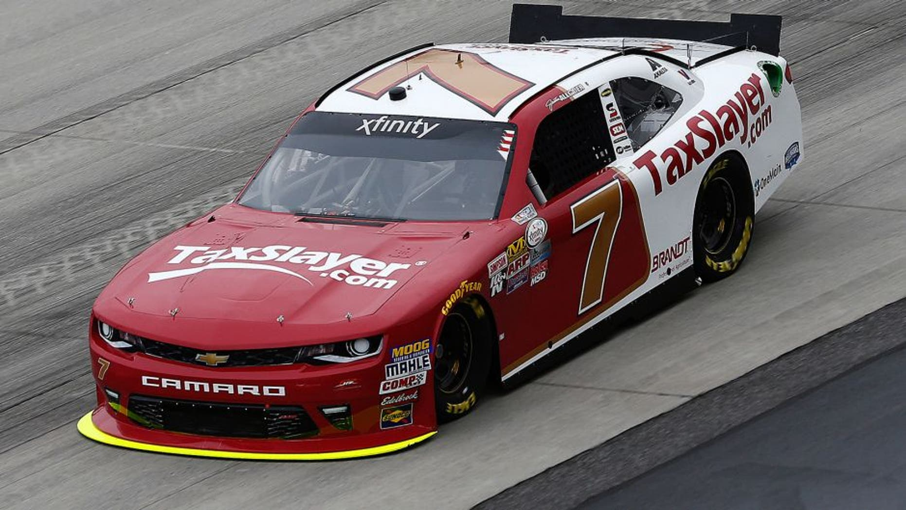 DOVER, DE - MAY 13: Justin Allgaier, driver of the #7 TaxSlayer.com Chevrolet, practices for the NASCAR XFINITY Series Ollie's Bargain Outlet 200 at Dover International Speedway on May 13, 2016 in Dover, Delaware. (Photo by Jeff Zelevansky/NASCAR via Getty Images)