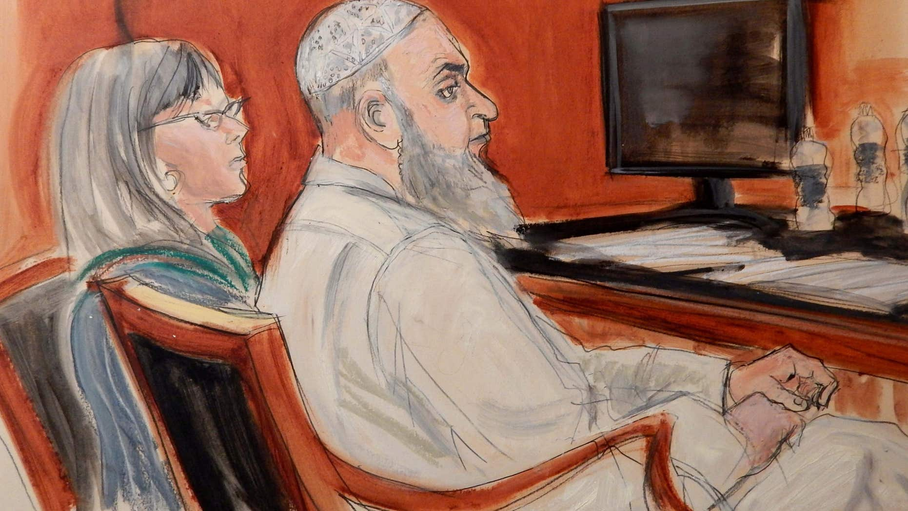 Jan. 20, 2015: In this file courtroom sketch, Khaled al-Fawwaz, right, a defendant in the 1998 bombings of the U.S. embassies in Kenya and Tanzania that killed 224 people