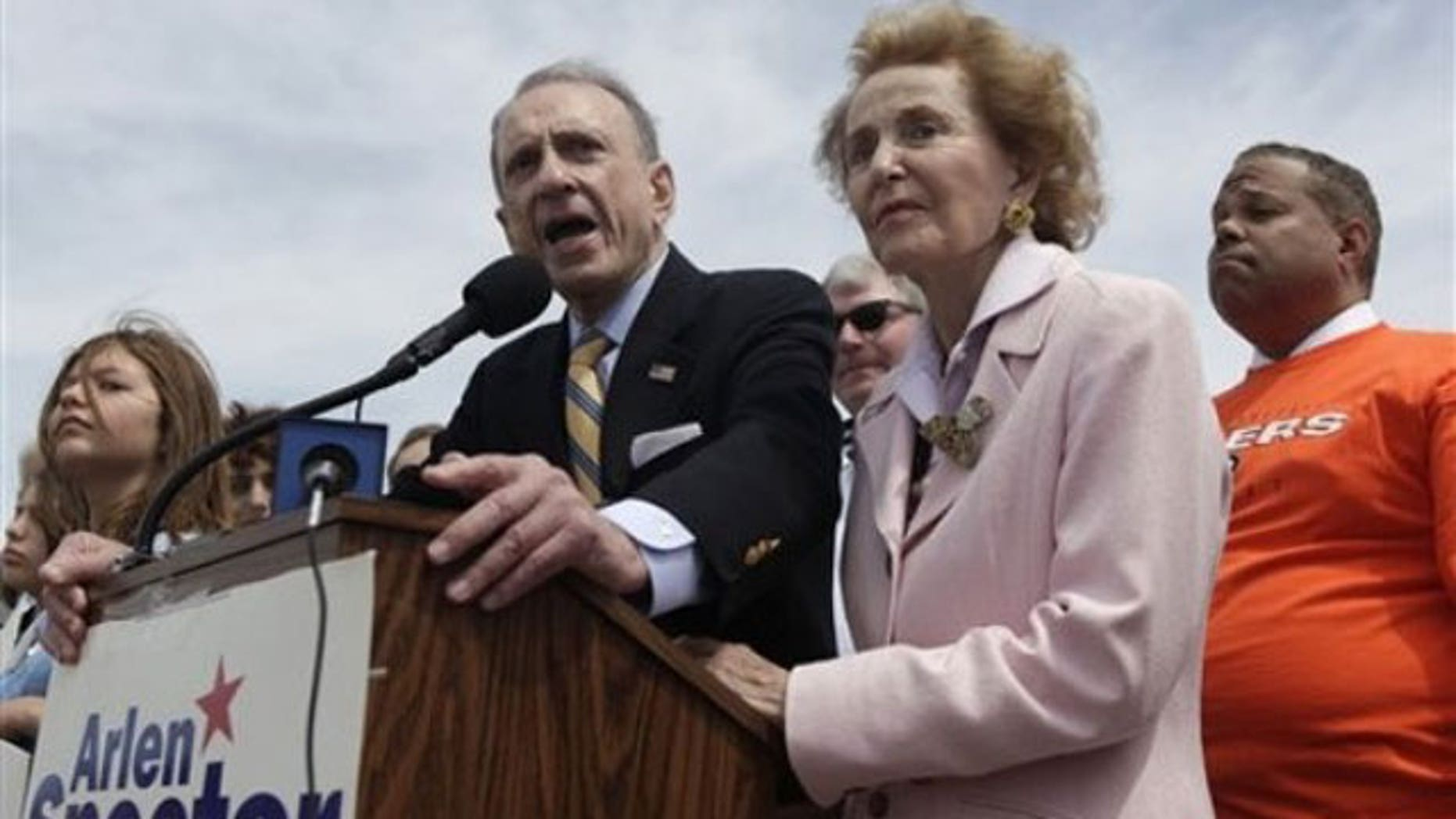 May 16: Sen. Arlen Specter, D-Pa. , with his wife Joan, at his side, campaigns at a rally titled Delivering for Pennsylvania: Upgrading the Port of Philadelphia at the Packer Avenue Marine Terminal in Philadelphia (AP).