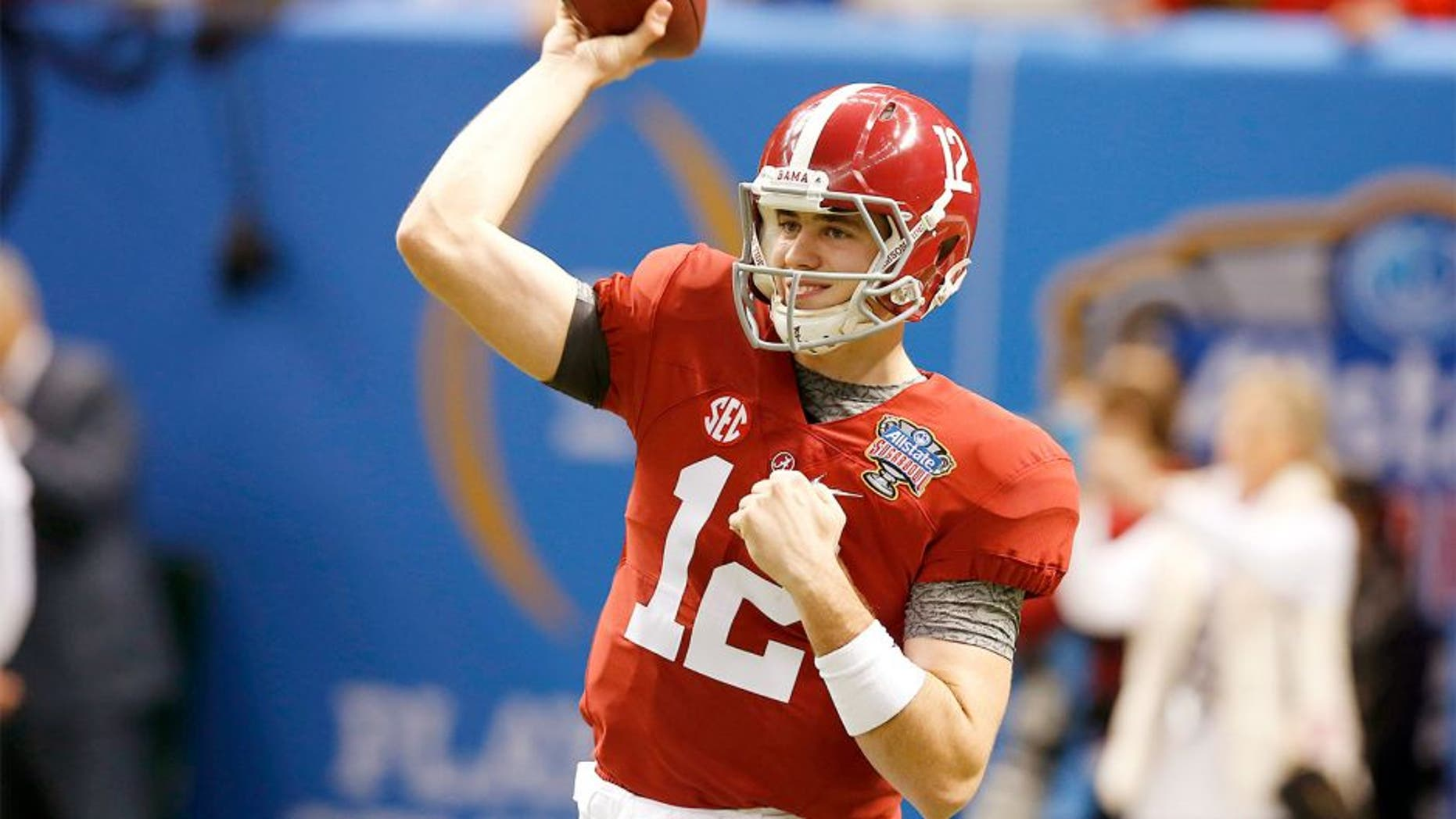 Jan 1, 2015; New Orleans, LA, USA; Alabama Crimson Tide quarterback David Cornwell (12) prior to the game against the Ohio State Buckeyes in the 2015 Sugar Bowl at Mercedes-Benz Superdome. Mandatory Credit: Matthew Emmons-USA TODAY Sports