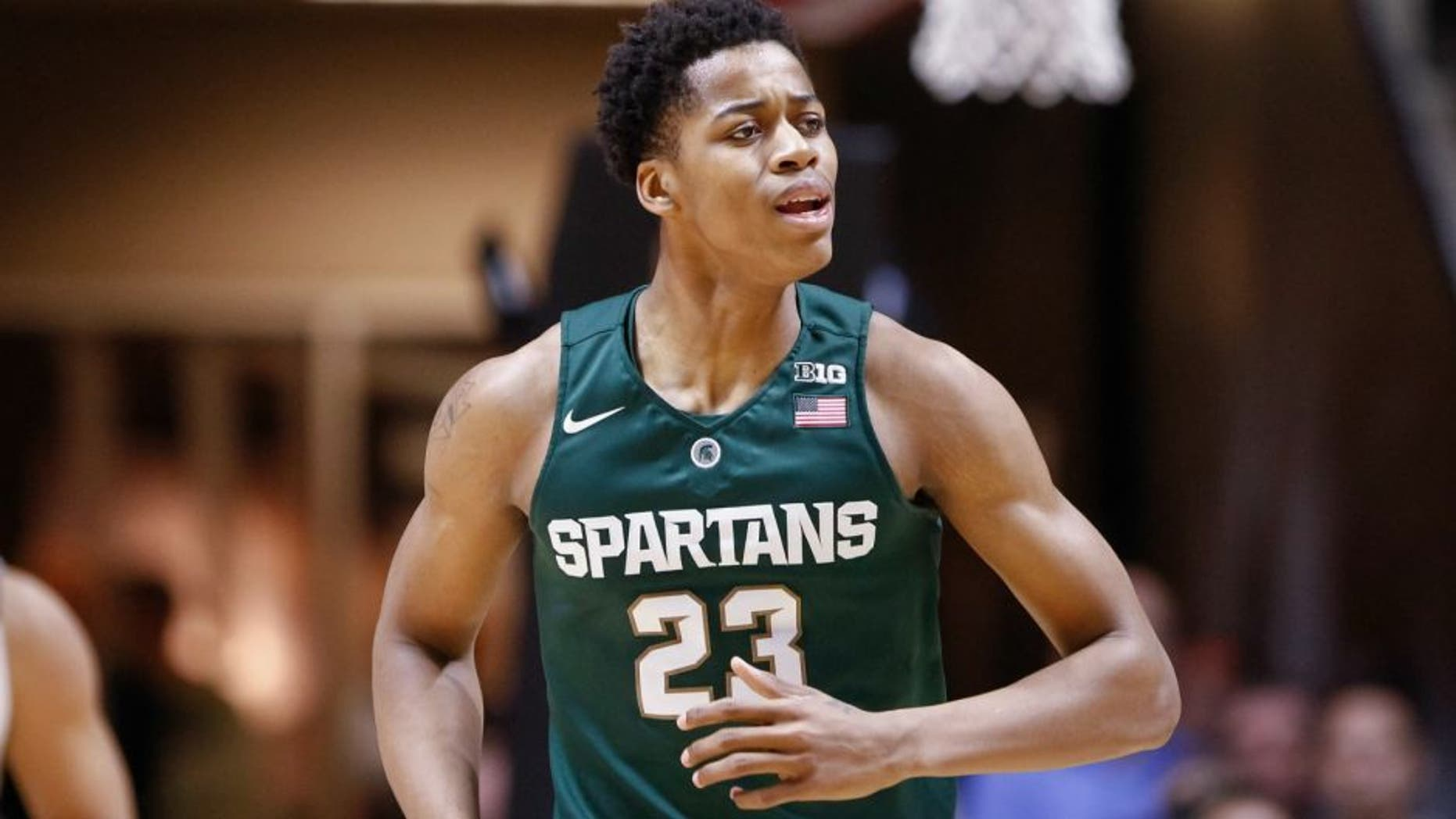 WEST LAFAYETTE, IN - FEBRUARY 09: Deyonta Davis #23 of the Michigan State Spartans jogs up the court during the game against the Purdue Boilermakers at Mackey Arena on February 9, 2016 in West Lafayette, Indiana. (Photo by Michael Hickey/Getty Images)