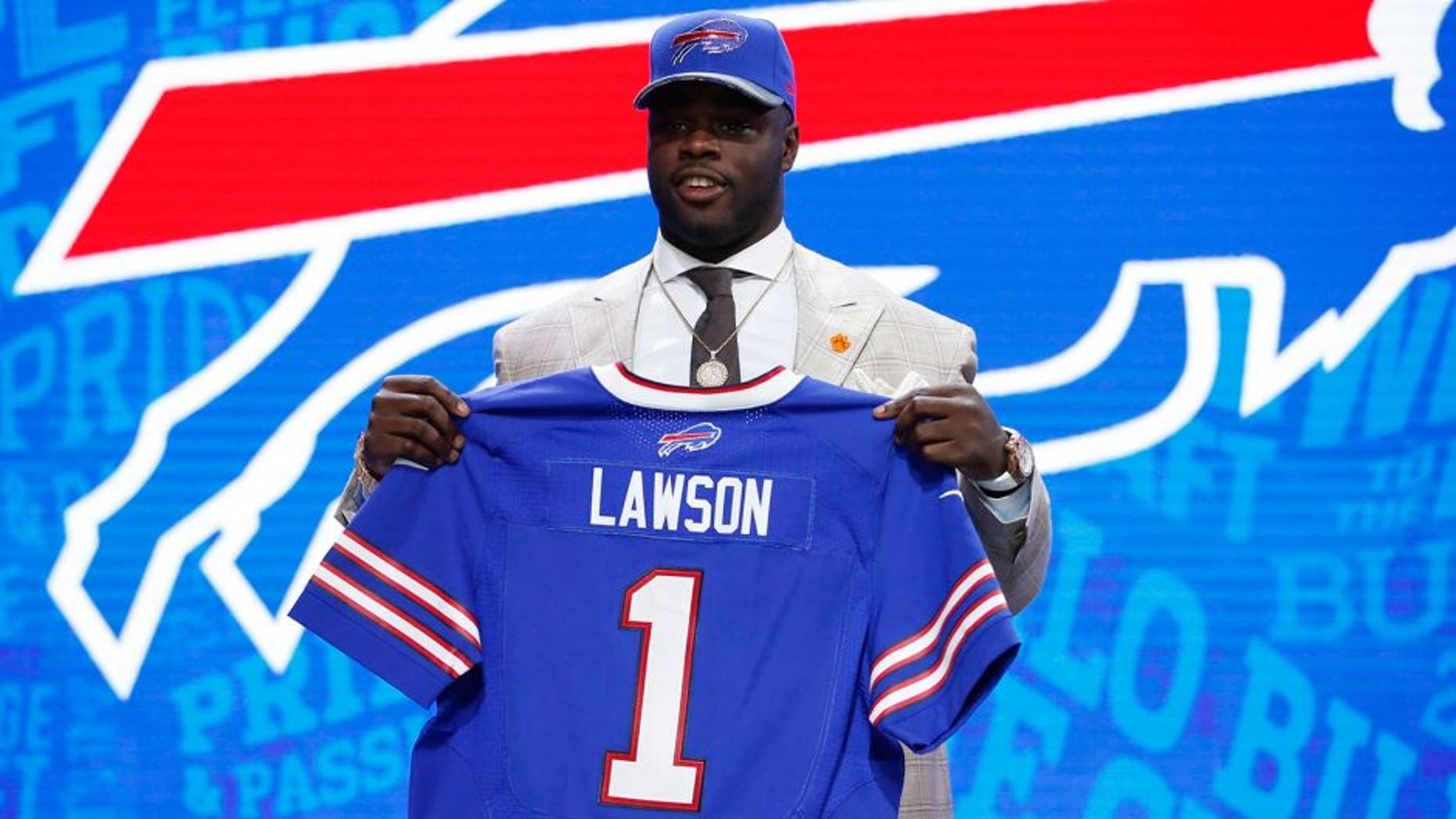 Apr 28, 2016; Chicago, IL, USA; Shaq Lawson (Clemson) after being selected by the Buffalo Bills as the number nineteen overall pick in the first round of the 2016 NFL Draft at Auditorium Theatre. Mandatory Credit: Kamil Krzaczynski-USA TODAY Sports