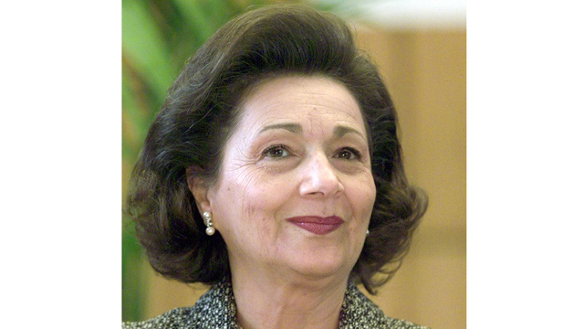 In this Feb. 19, 2003 file photo, Suzanne Mubarak, wife of former Egypt President Hosni Mubarak, smiles at the Free University Berlin.