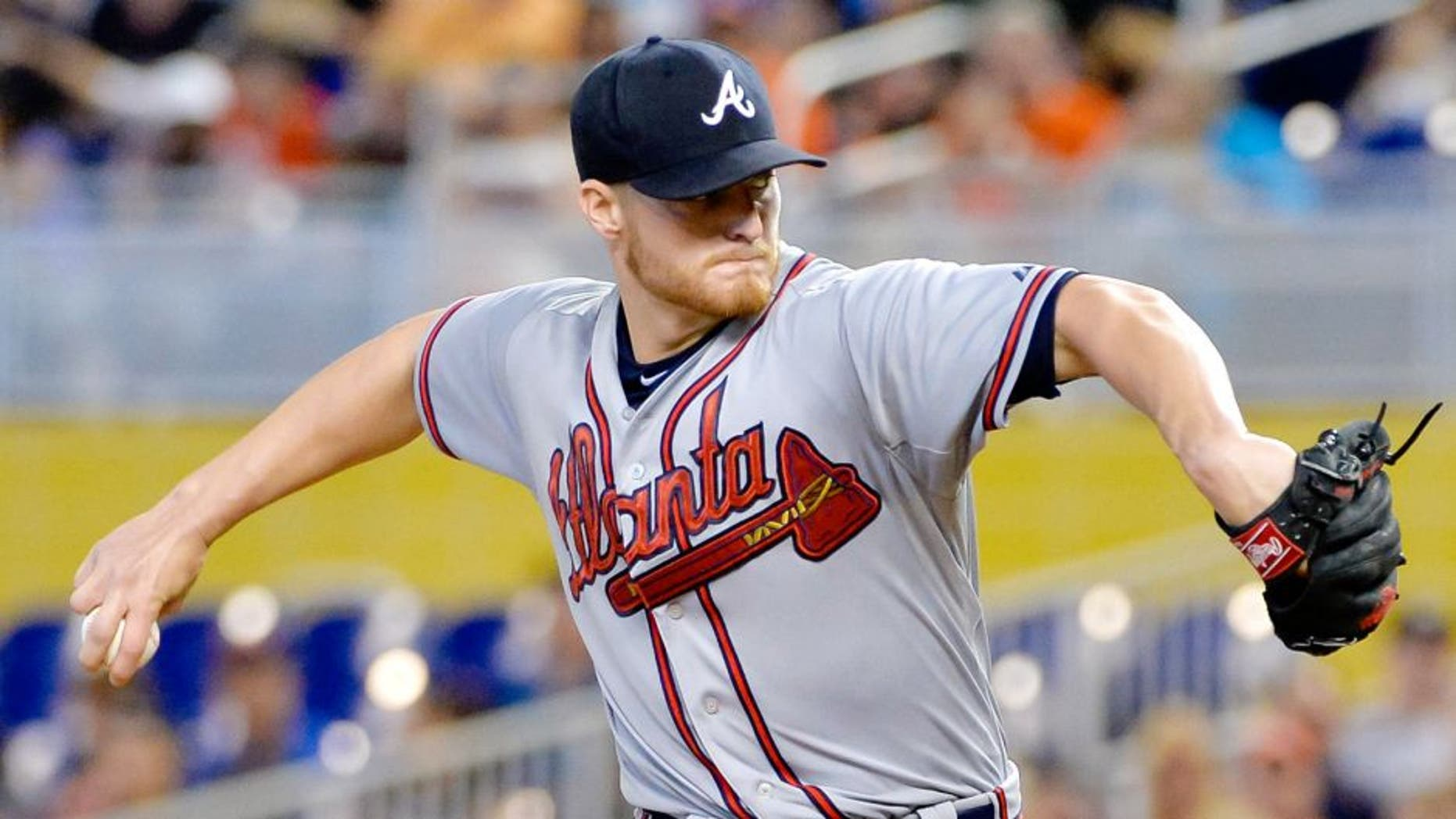 May 17, 2015; Miami, FL, USA; Atlanta Braves starting pitcher Shelby Miller (17) delivers a pitch against the Miami Marlins during the first inning at Marlins Park. Mandatory Credit: Steve Mitchell-USA TODAY Sports