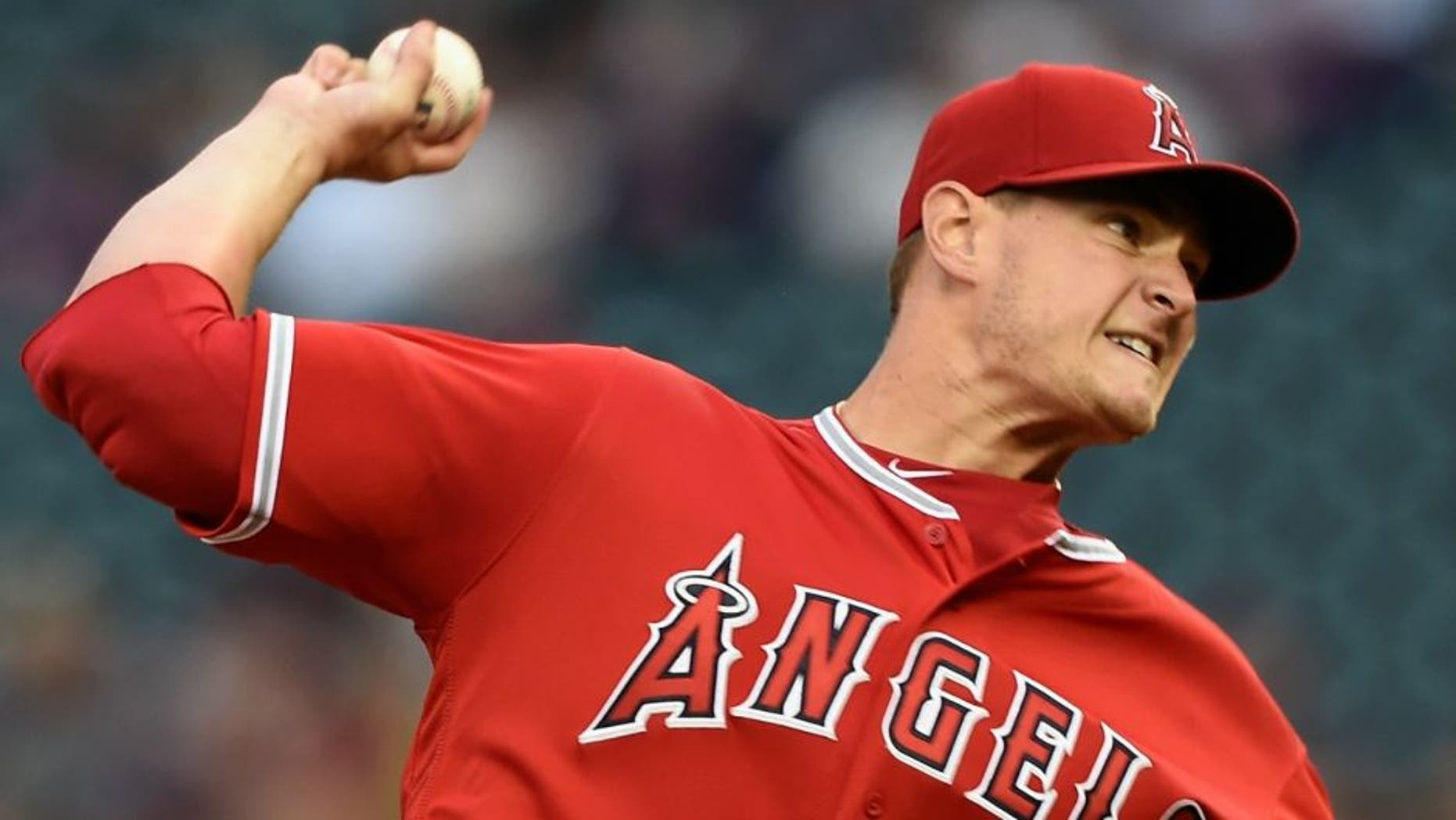 MINNEAPOLIS, MN - APRIL 15: Garrett Richards of the Los Angeles Angels of Anaheim delivers a pitch against the Minnesota Twins during the first inning of the game on April 15, 2016 at Target Field in Minneapolis, Minnesota. All players are wearing number 42 in honor of Jackie Robinson Day. (Photo by Hannah Foslien/Getty Images)