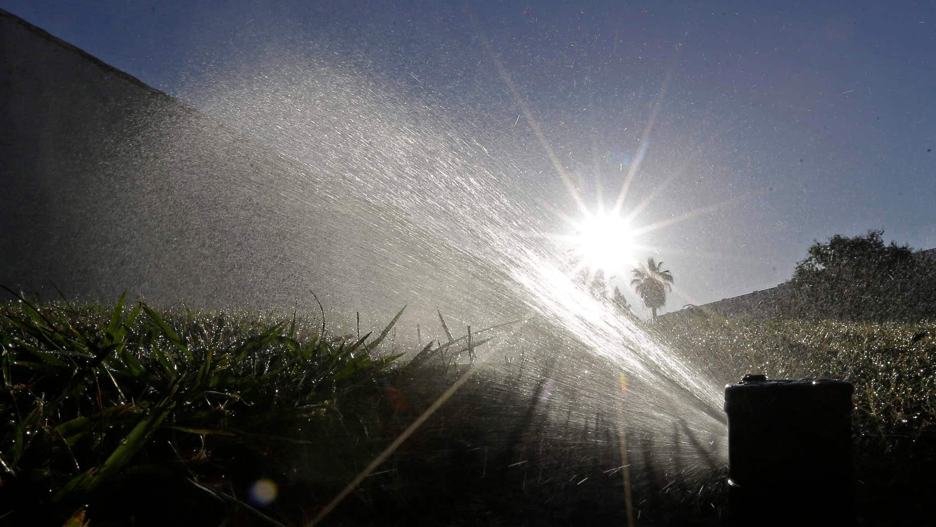 FILE - In this June 23, 2015, file photo, a lawn is irrigated in Sacramento, Calif.