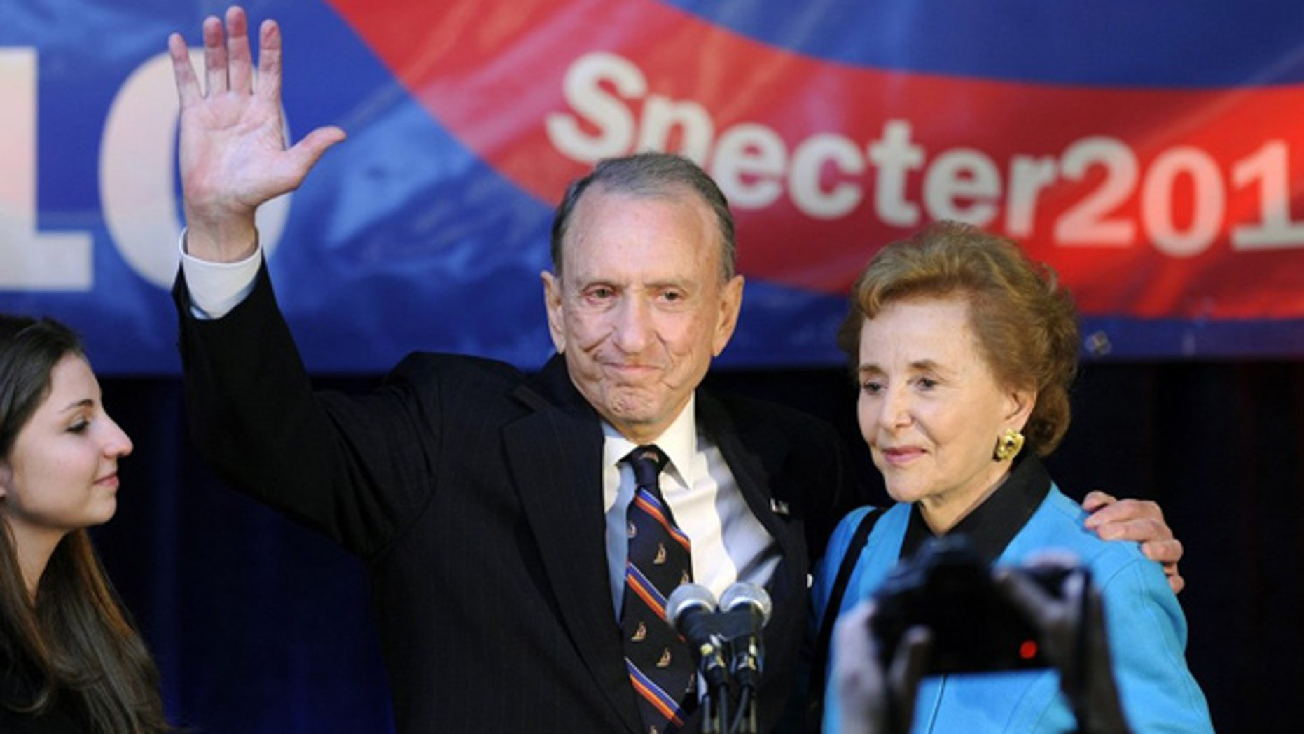 May 18: Sen. Arlen Specter waves as he gives his concession speech in Philadelphia.