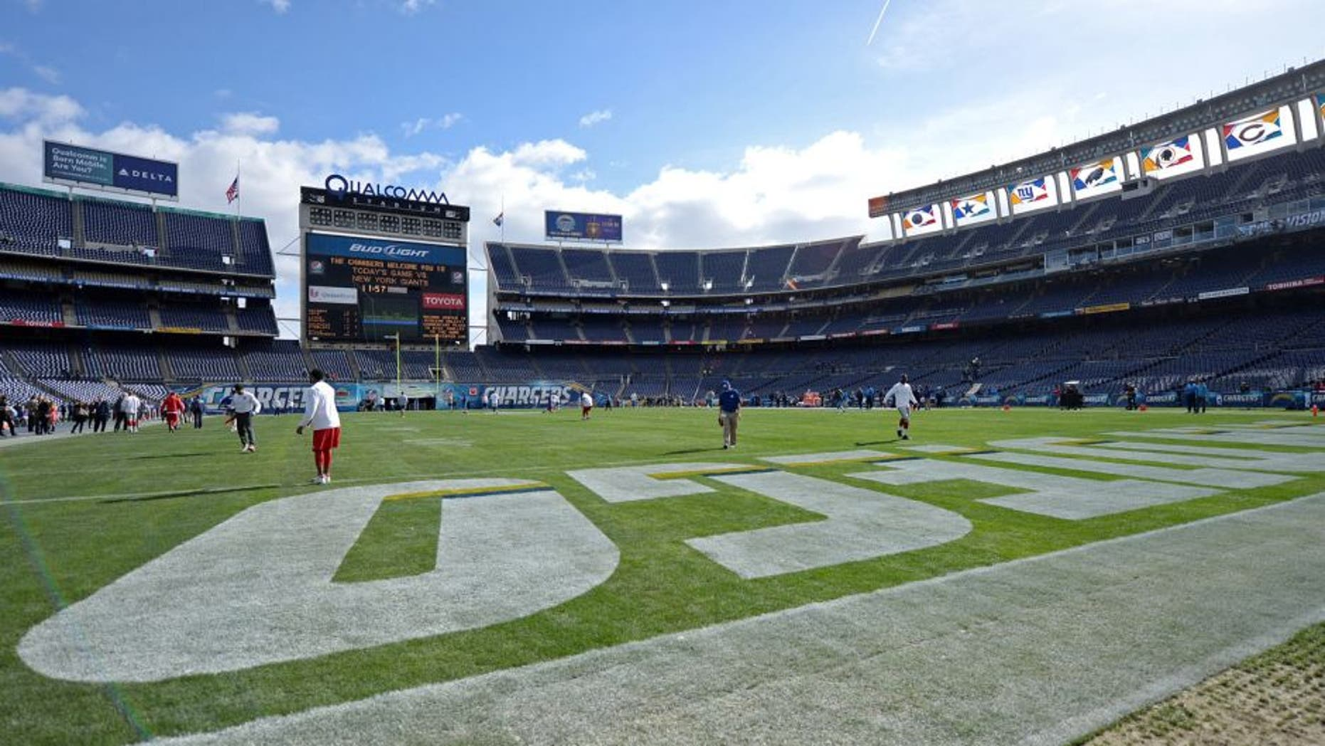 Dec 8, 2013; San Diego, CA, USA; View of Qualcomm stadium before the game between the San Diego Chargers and the New York Giants. Mandatory Credit: Jayne Kamin-Oncea-USA TODAY Sports