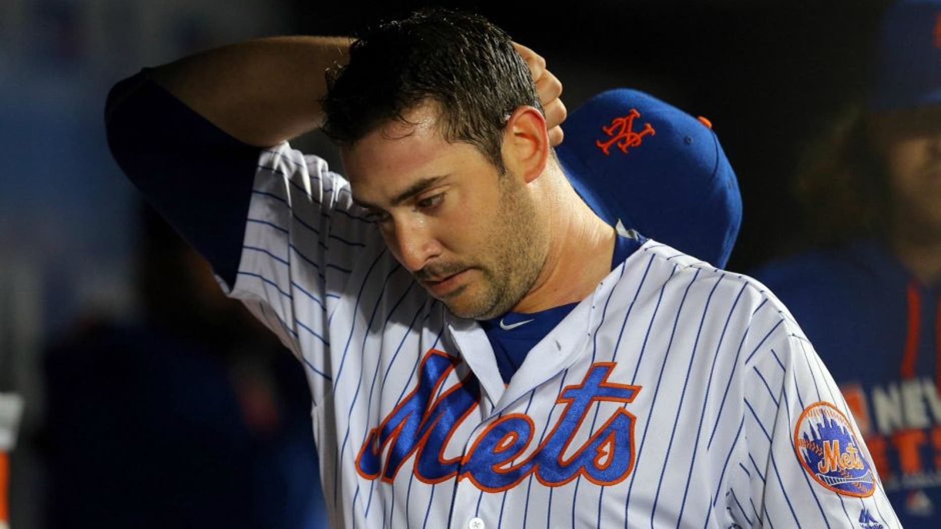 May 3, 2016; New York City, NY, USA; New York Mets starting pitcher Matt Harvey (33) reacts in the dugout after being removed from the game against the Atlanta Braves during the sixth inning at Citi Field. Mandatory Credit: Brad Penner-USA TODAY Sports