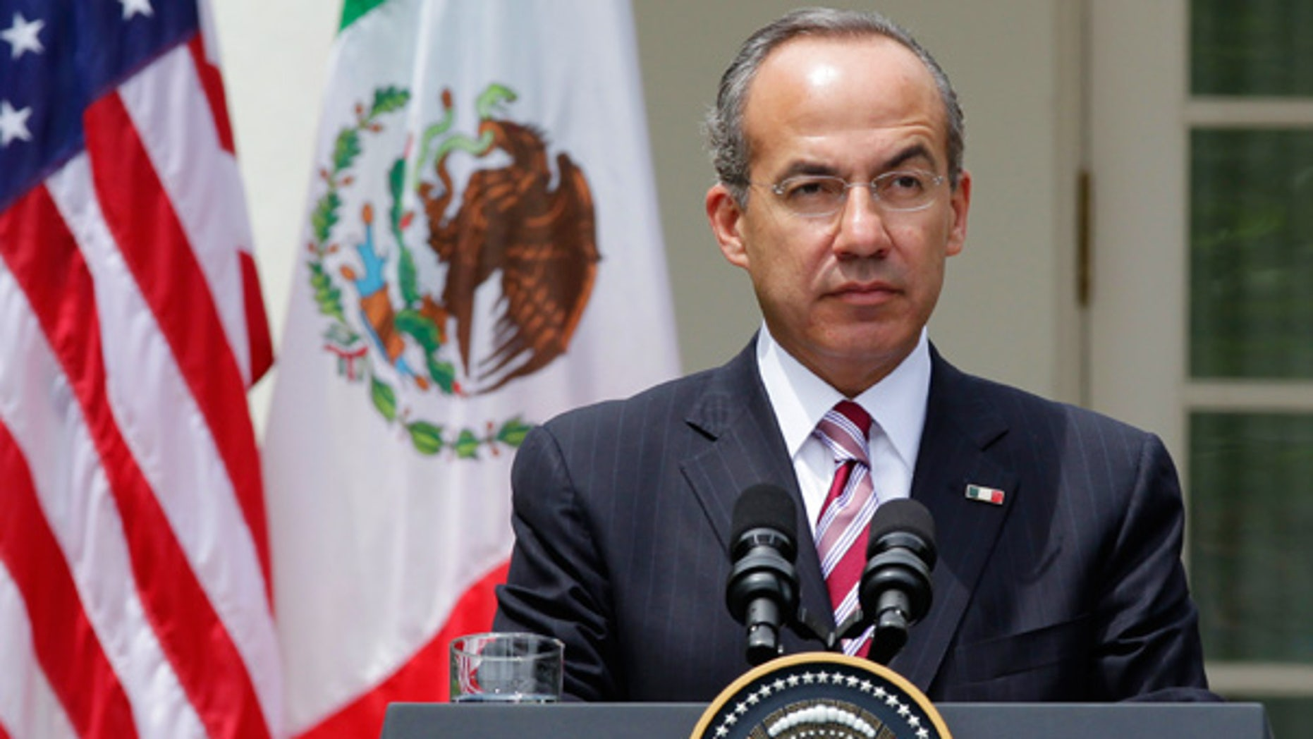 May 19: Mexico's President Felipe Calderon at a joint news conference with President Obama at the White House.