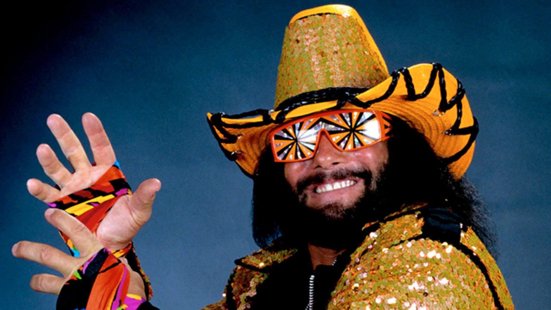 """In this undated publicity image released by WWE, professional wrestler Randy """"Macho Man"""" Savage is shown."""