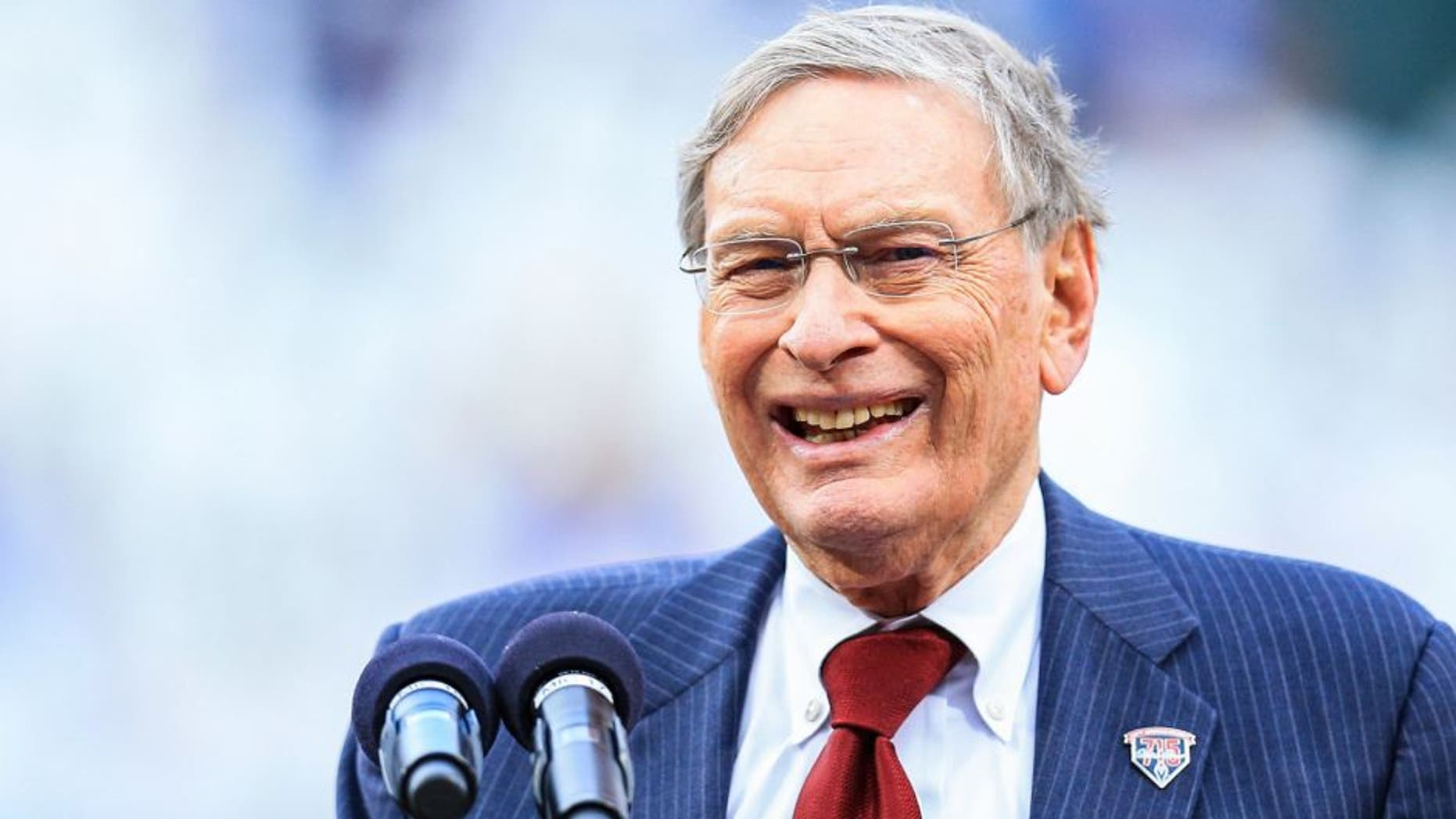 Apr 8, 2014; Atlanta, GA, USA; MLB commissioner Bud Selig speaks during a ceremony honoring the 40th anniversary of Hank Aaron's record breaking 715th home run before the game against the New York Mets at Turner Field. The Mets won 4-0. Mandatory Credit: Daniel Shirey-USA TODAY Sports