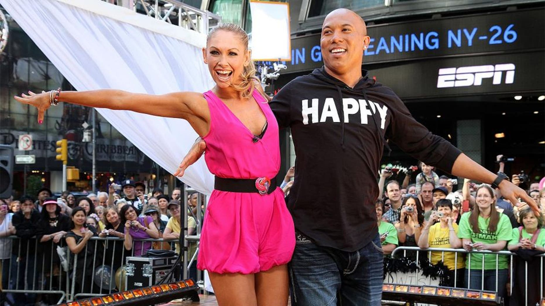 "NEW YORK, NY - MAY 25: Dancing with the Stars champions Kym Johnson and Hines Ward perform during ABC's ""Good Morning America"" on Military Island in Times Square on May 25, 2011 in New York City. (Photo by Taylor Hill/Getty Images)"