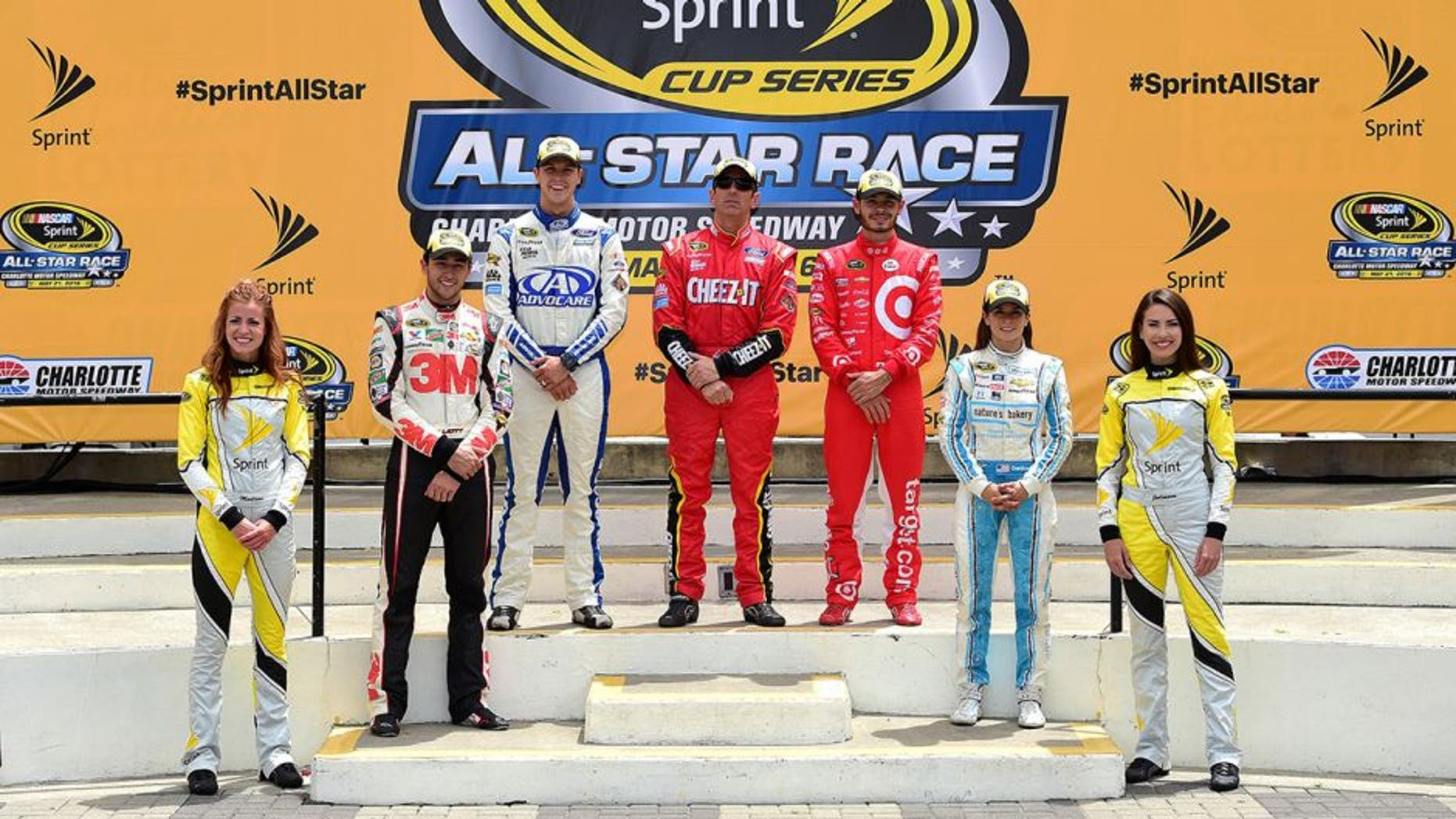 CHARLOTTE, NC - MAY 21: (Top row L-R) The segment winners, Trevor Bayne, driver of the #6 AdvoCare Ford, Greg Biffle, driver of the #16 Cheez-It Ford, and Kyle Larson, driver of the #42 Target Chevrolet, pose with the fan vote winners Chase Elliott, driver of the #24 3M Chevrolet, and Danica Patrick, driver of the #10 Nature's Bakery Chevrolet, in Victory Lane after the NASCAR Sprint Cup Series Sprint Showdown at Charlotte Motor Speedway on May 21, 2016 in Charlotte, North Carolina. (Photo by Jared C. Tilton/Getty Images)