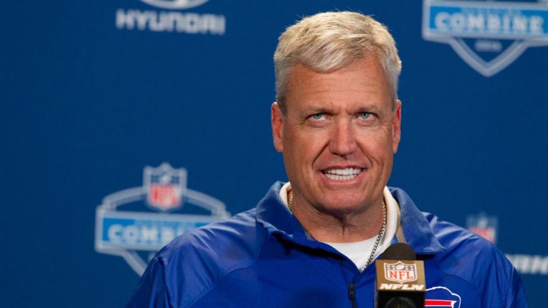 Feb 24, 2016; Indianapolis, IN, USA; Buffalo Bills head coach Rex Ryan speaks to the media during the 2016 NFL Scouting Combine at Lucas Oil Stadium. Mandatory Credit: Trevor Ruszkowski-USA TODAY Sports