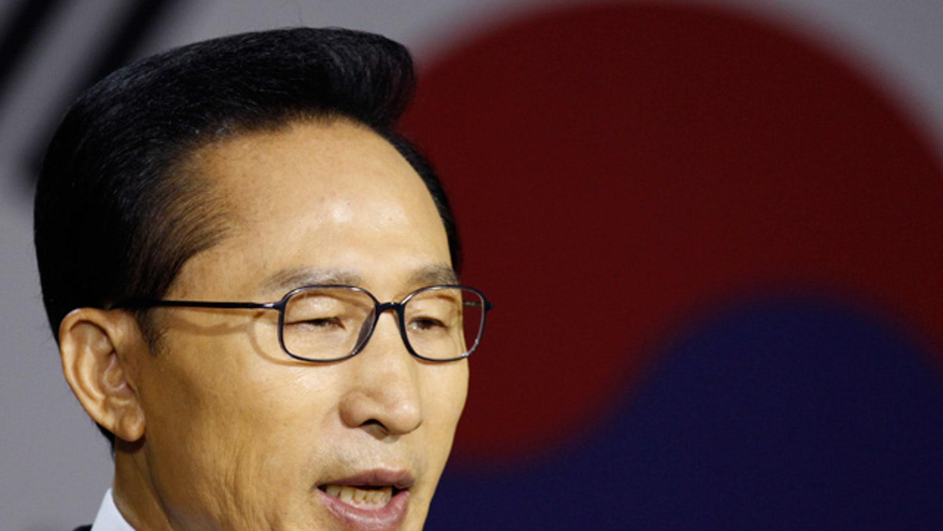 May 24: South Korean President Lee Myung-bak delivers a speech at the War Memorial of Korea in Seoul. (AP)