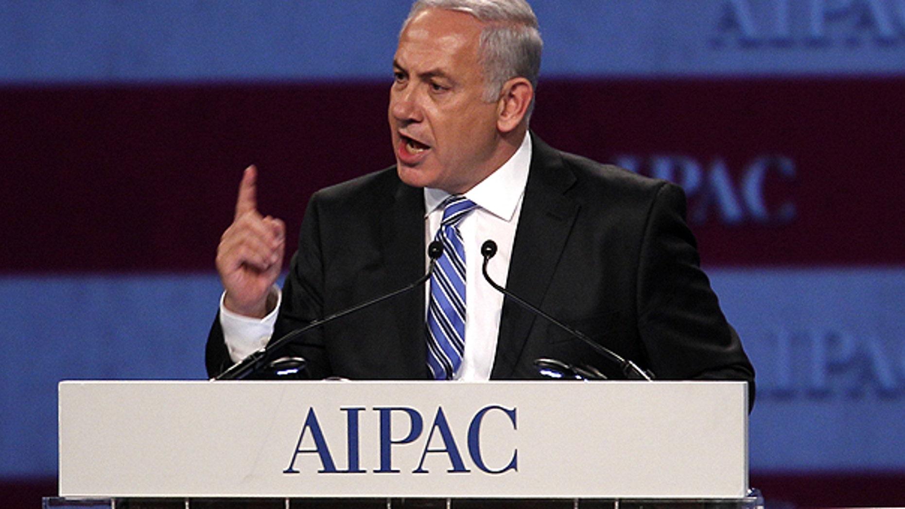 May 23: Israel Prime Minister Benjamin Netanyahu speaks at the American Israel Public Affairs Committee meeting in Washington.