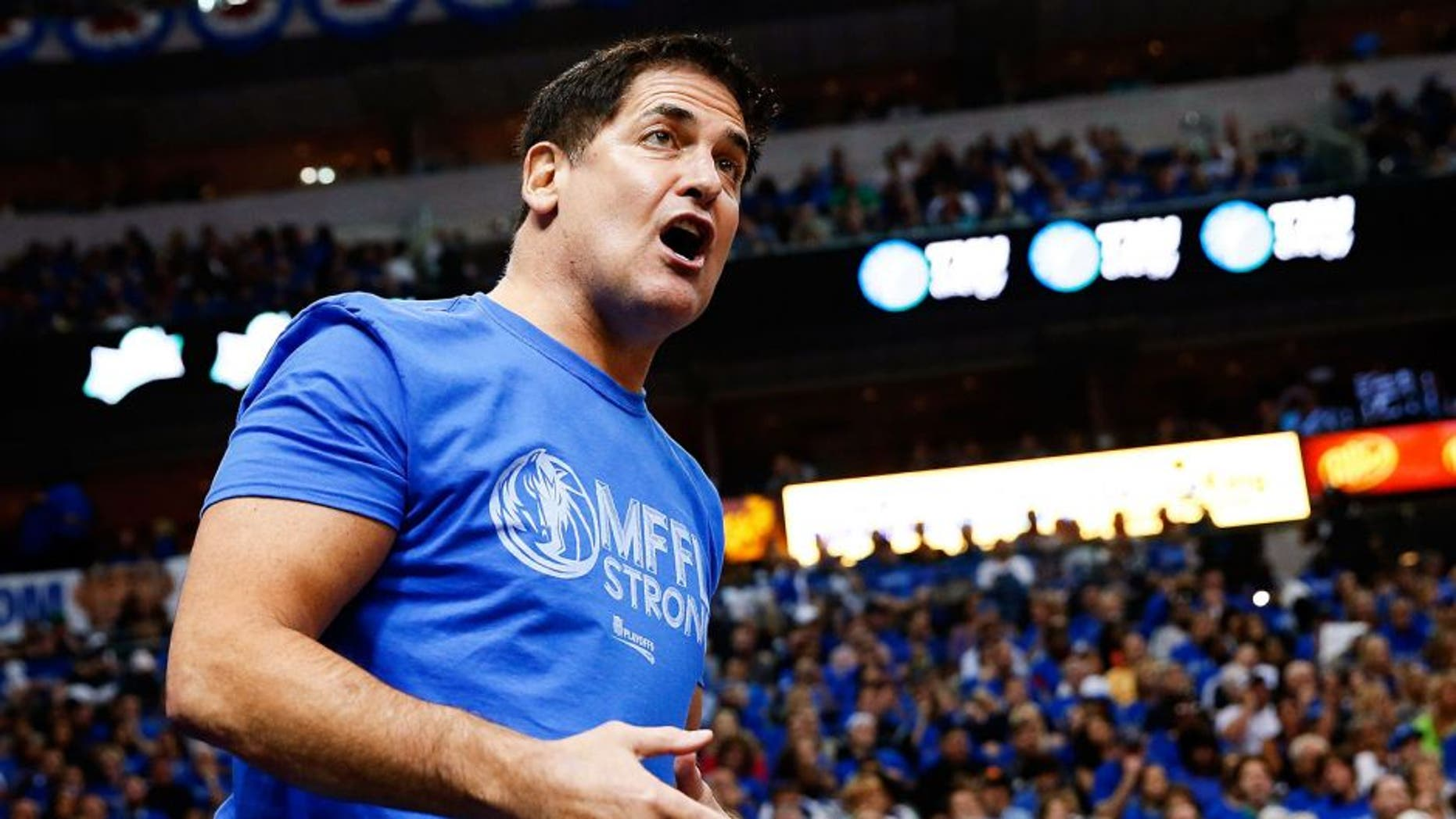 Apr 26, 2014; Dallas, TX, USA; Dallas Mavericks owner Mark Cuban reacts during the game against the San Antonio Spurs in game three of the first round of the 2014 NBA Playoffs at American Airlines Center. Dallas won 109-108. Mandatory Credit: Kevin Jairaj-USA TODAY Sports