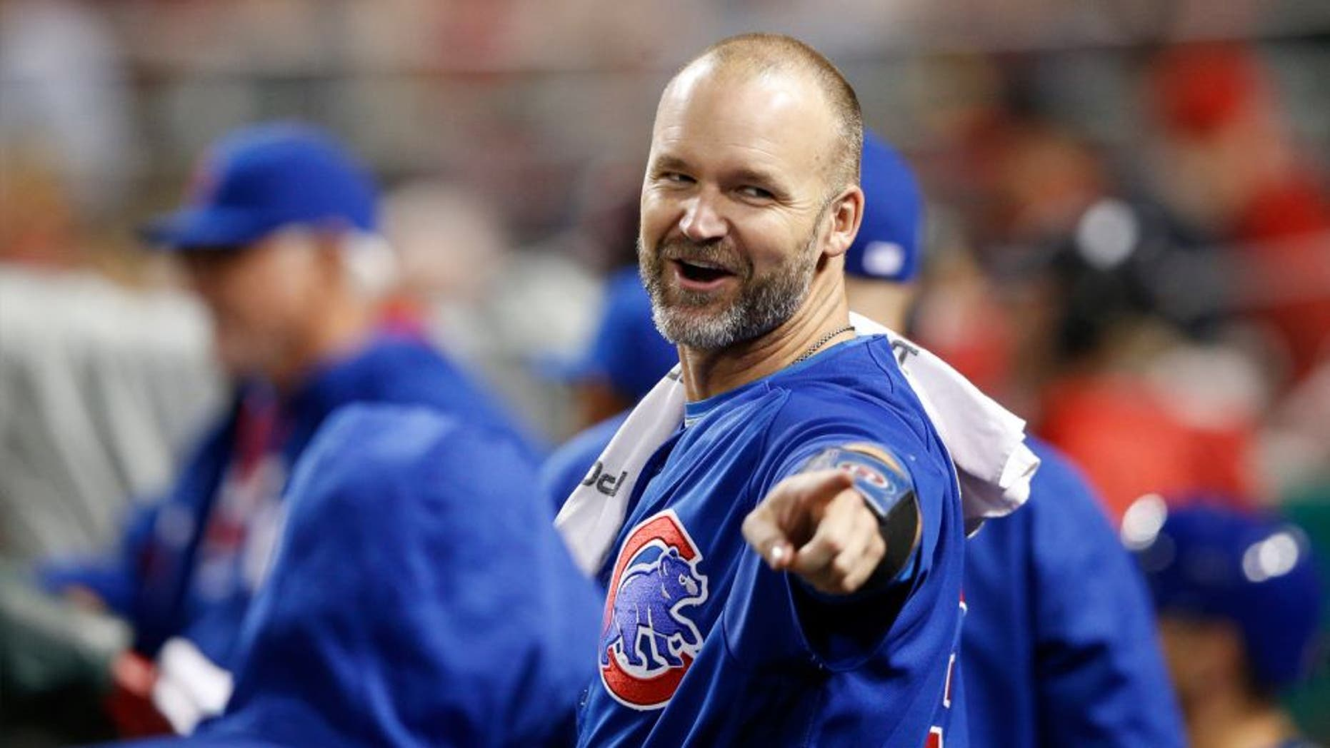 David Ross #3 of the Chicago Cubs looks on against the Cincinnati Reds during the game at Great American Ball Park on April 22, 2016 in Cincinnati, Ohio. The Cubs defeated the Reds 8-1. (Photo by Joe Robbins/Getty Images)