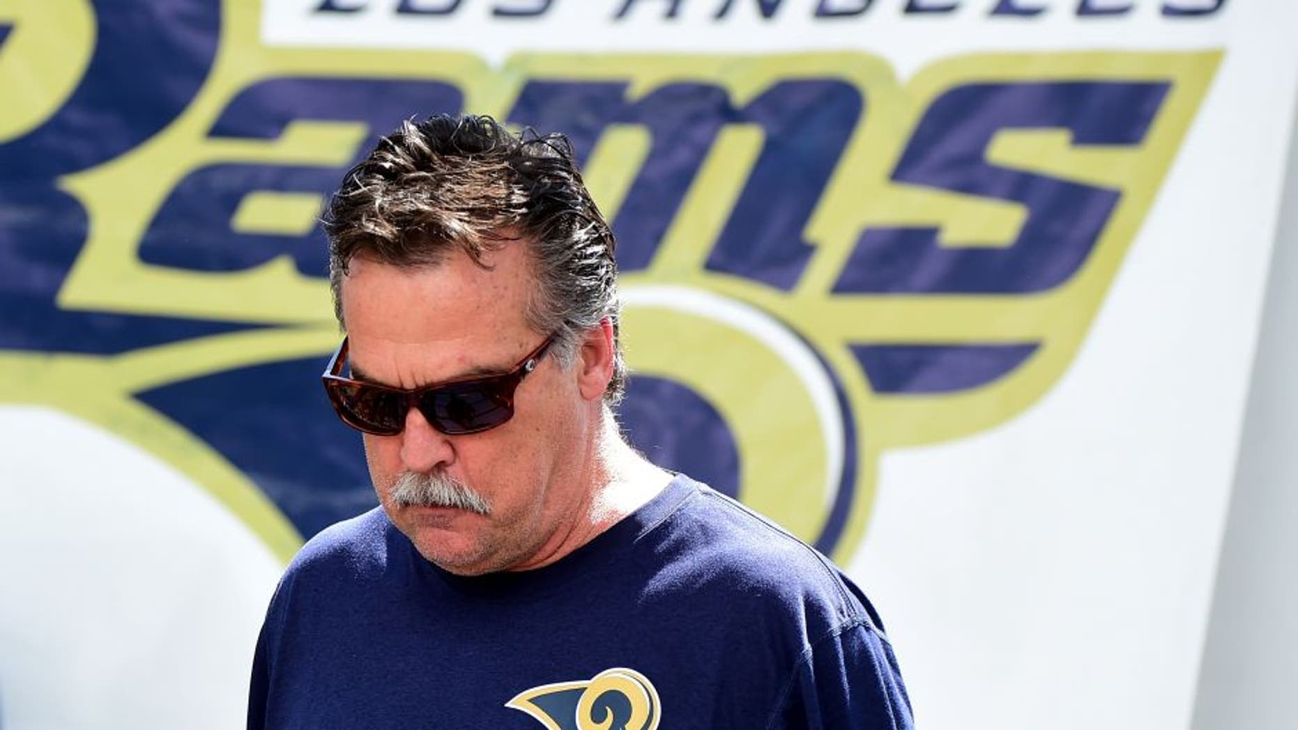 OXNARD, CA - MAY 06: Head coach Jeff Fisher of the Los Angeles Rams takes to the field during a Los Angeles Rams rookie camp on May 06, 2016 in Oxnard, California. (Photo by Harry How/Getty Images)