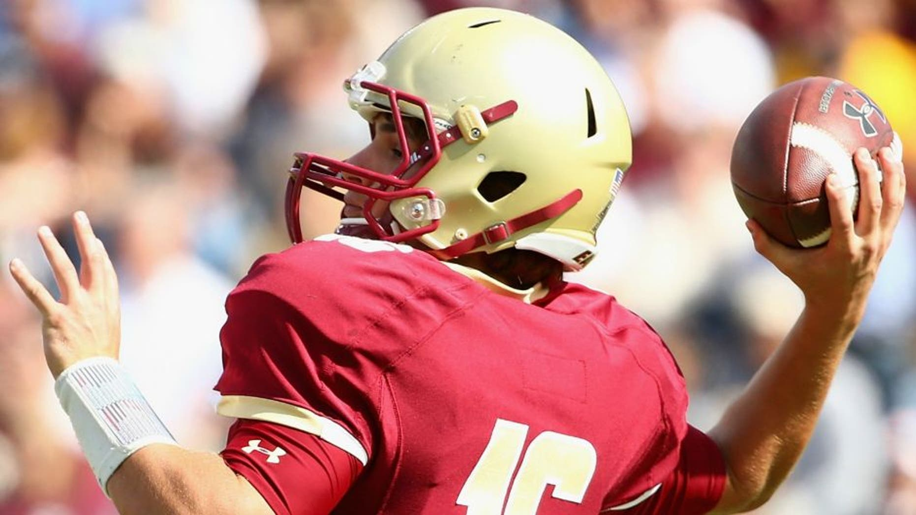 > at Alumni Stadium on September 26, 2015 in Chestnut Hill, Massachusetts.,CHESTNUT HILL, MA - SEPTEMBER 26: Troy Flutie #16 of the Boston College Eagles makes a pass during the first quarter against the Northern Illinois Huskies at Alumni Stadium on September 26, 2015 in Chestnut Hill, Massachusetts. (Photo by Maddie Meyer/Getty Images)