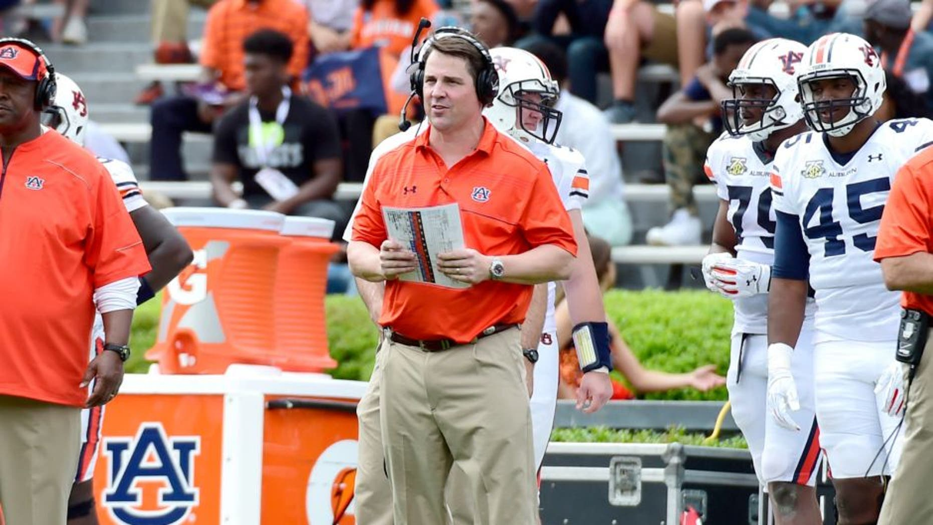 Apr 18, 2015; Auburn, AL, USA; Auburn Tigers defensive coordinator Will Muschamp looks on during the spring game at Jordan-Hare Stadium. Mandatory Credit: Shanna Lockwood-USA TODAY Sports