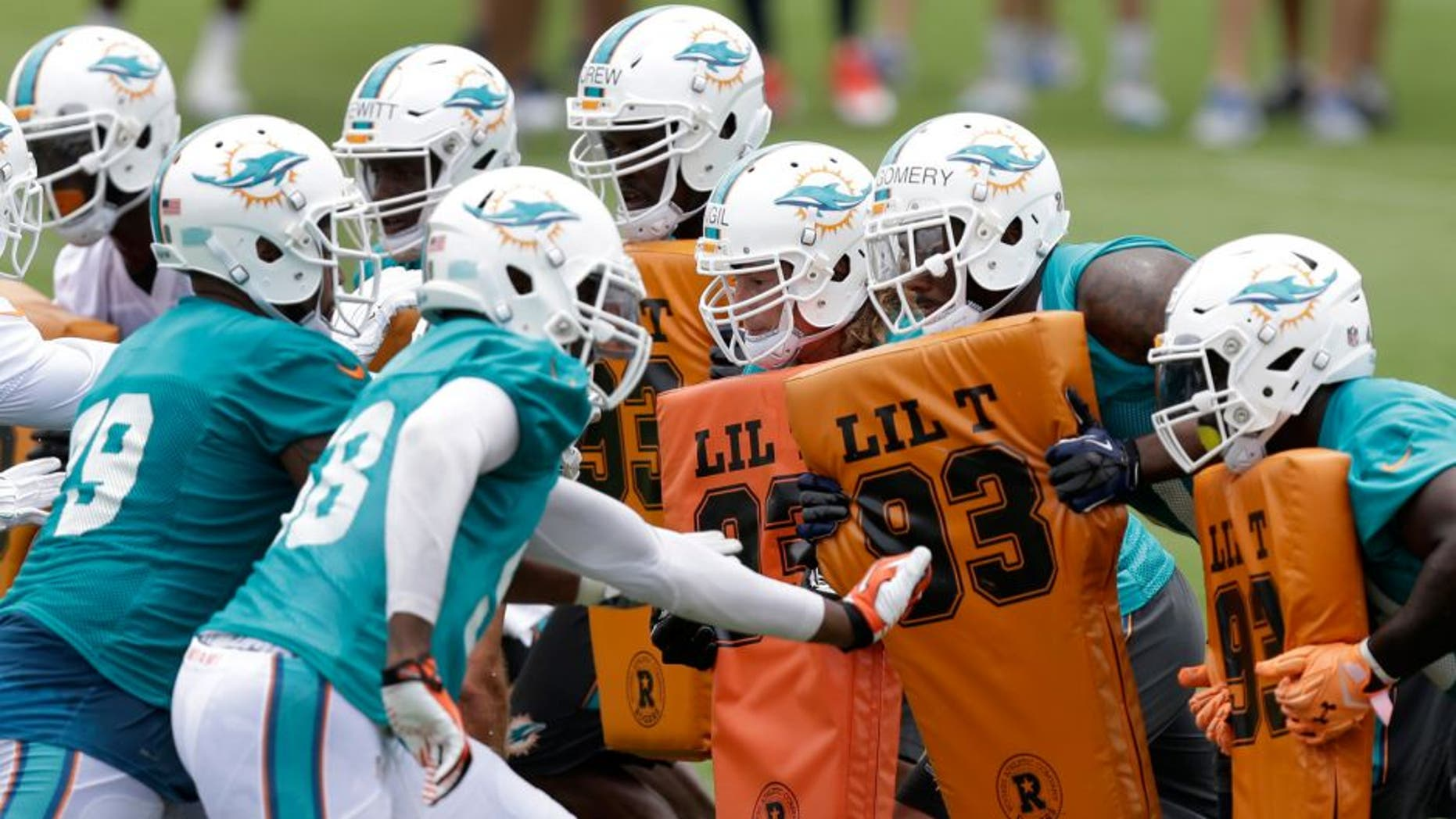 Miami Dolphins players participate in an NFL football organized team activity, Tuesday, May 26, 2015, at the Dolphins training facility in Davie, Fla. (AP Photo/Wilfredo Lee)