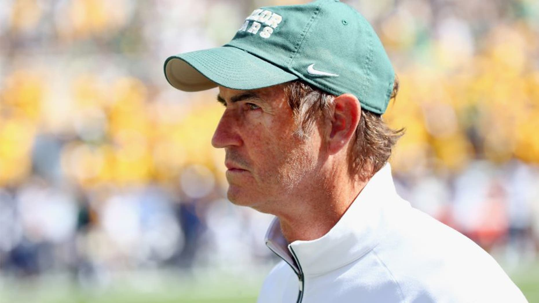 Head coach Art Briles of the Baylor Bears looks on as the Bears take on the West Virginia Mountaineers in the second half at McLane Stadium on October 17, 2015 in Waco, Texas. (Photo by Tom Pennington/Getty Images)