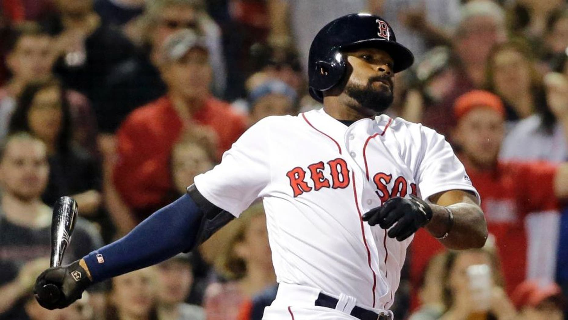 Boston Red Sox's Jackie Bradley Jr. grounds out against the Colorado Rockies during the eighth inning of a baseball game at Fenway Park, Thursday, May 26, 2016, in Boston. Bradley went 0-for-4, ending his 29-game hitting streak. (AP Photo/Elise Amendola)