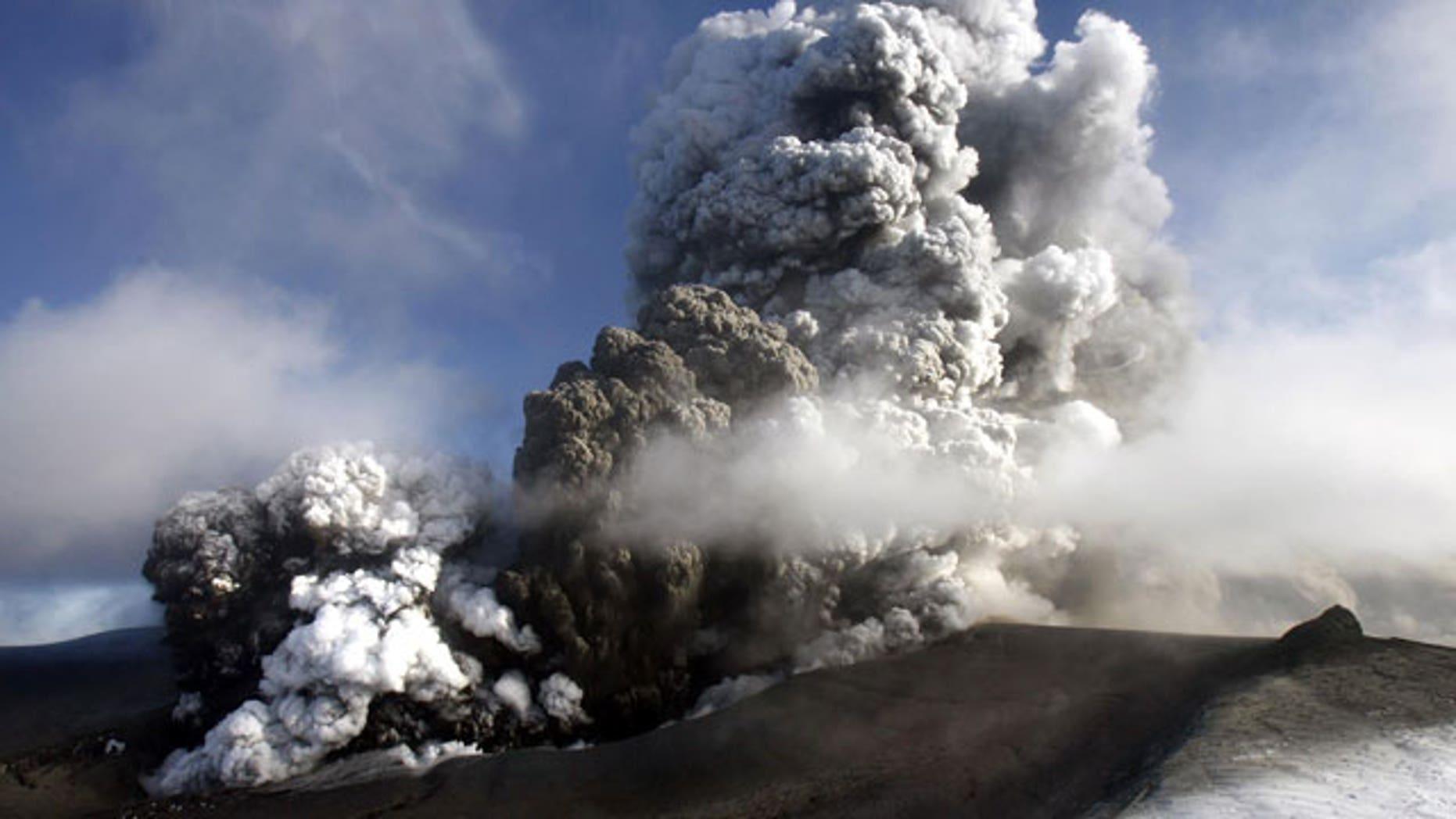April 17, 2011: Volcano in southern Iceland's Eyjafjallajokull glacier sends ash into the air.