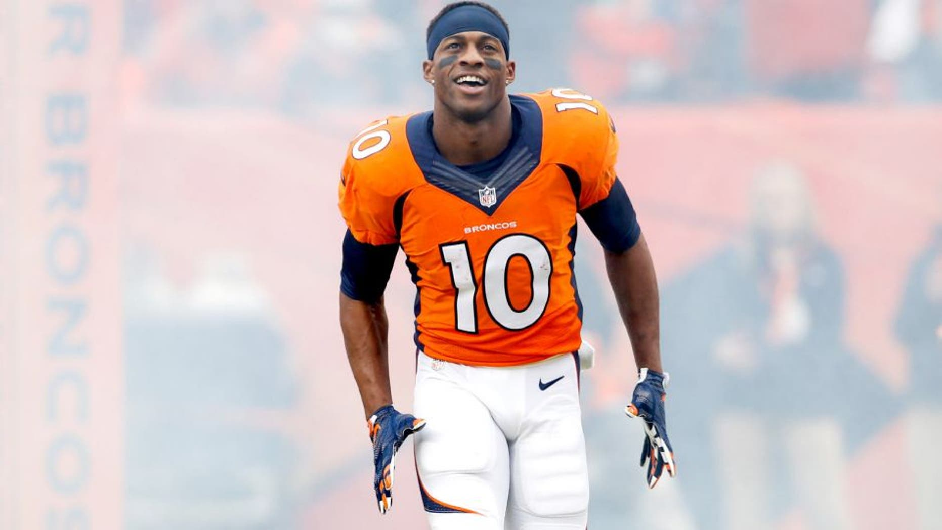 Jan 11, 2015; Denver, CO, USA; Denver Broncos wide receiver Emmanuel Sanders (10) in the 2014 AFC Divisional playoff football game against the Indianapolis Colts at Sports Authority Field at Mile High. Mandatory Credit: Chris Humphreys-USA TODAY Sports