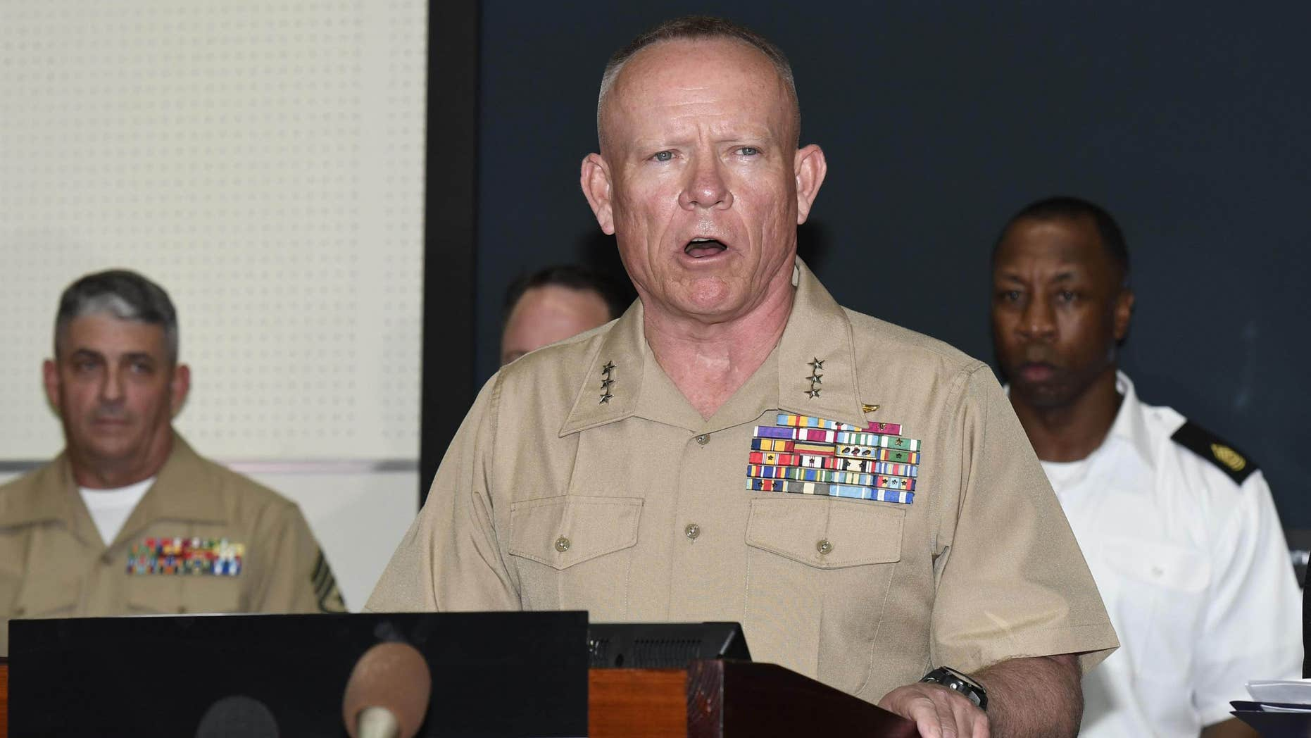 Lt. Gen. Lawrence D. Nicholson, U.S. Marine Corps Commanding General of III Marine Expeditionary Force, speaks during a press conference at the USMC Camp Foster in Okinawa, Japan after a former Marine was arrested on suspicion of killing a woman on the southern Japanese island.