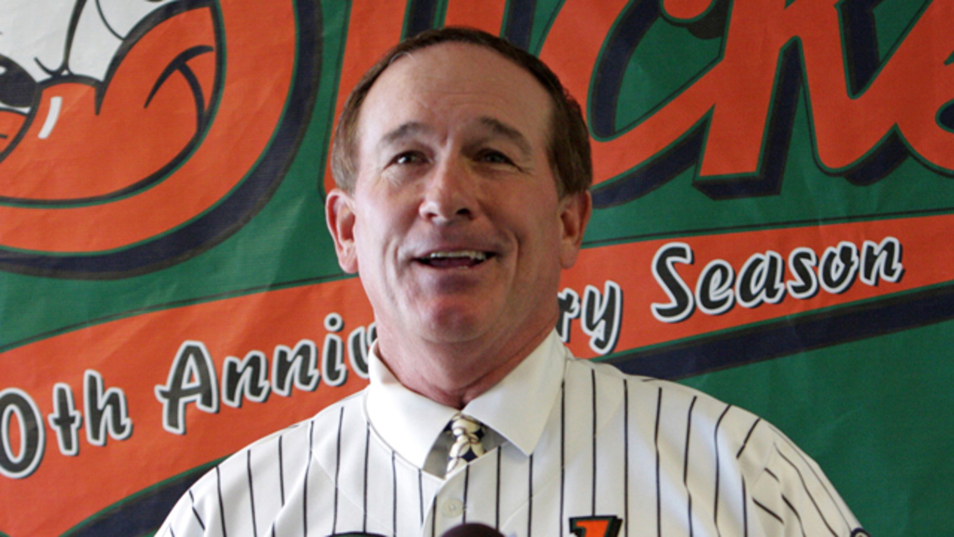 In this Nov. 10, 2008, file photo, former New York Mets catcher Gary Carter addresses the media at a news conference in Central Islip, N.Y., where he was introduced as the manager of the Atlantic League's Long Island Ducks.
