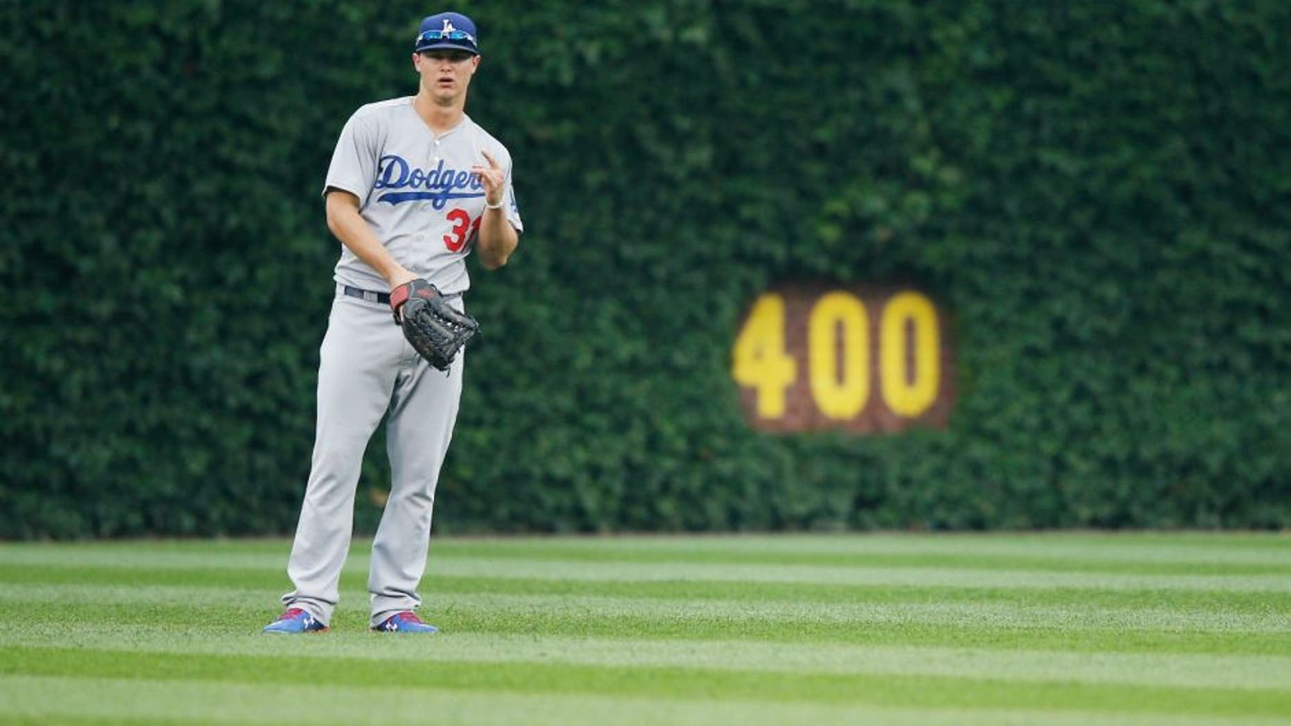 CHICAGO, IL - JUNE 25: Joc Pederson #31 of the Los Angeles Dodgers stands ready in the outfield during the game against the Chicago Cubs at Wrigley Field on June 25, 2015 in Chicago, Illinois. The Dodgers defeated the Cubs 4-0. (Photo by Joe Robbins/Getty Images)