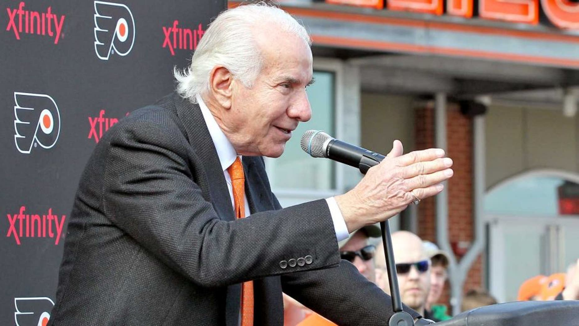 PHILADELPHIA, PA - MARCH 15: Philadelphia Flyers Chairman Ed Snider speaks at the unveiling of a statue of Hockey Hall-of-Famer Fred Shero at Xfinity Live outside of the Wells Fargo Center on March 15, 2014 in Philadelphia, Pennsylvania. The Flyers would go on to defeat the Penguins 4-0. (Photo by Len Redkoles/NHLI via Getty Images) *** Local Caption *** Ed Snider;Fred Shero