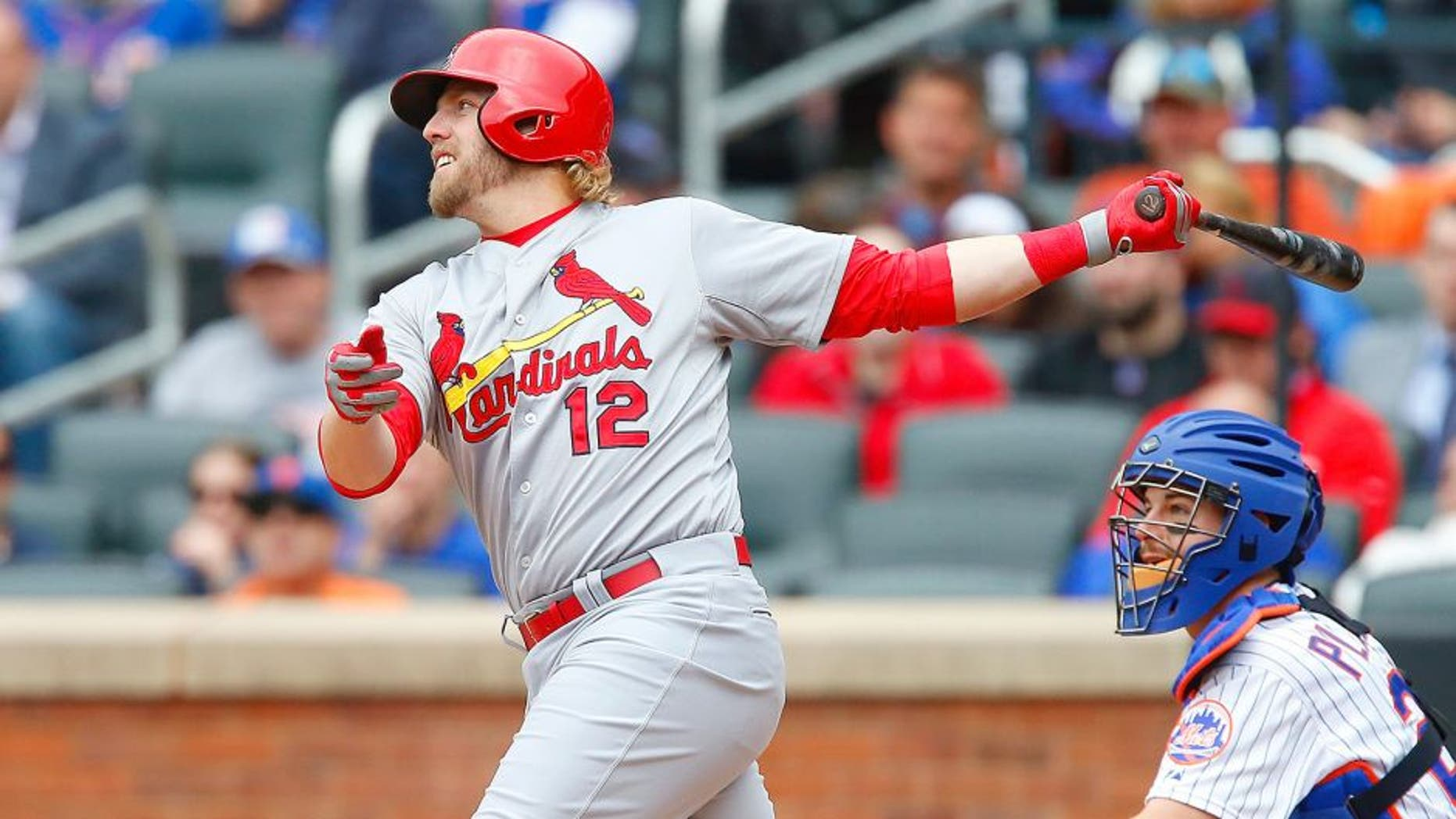 NEW YORK, NY - MAY 21: (NEW YORK DAILIES OUT) Mark Reynolds #12 of the St. Louis Cardinals in action against the New York Mets at Citi Field on May 21, 2015 in the Flushing neighborhood of the Queens borough of New York City. The Mets defeated the Cardinals 5-0. (Photo by Jim McIsaac/Getty Images)
