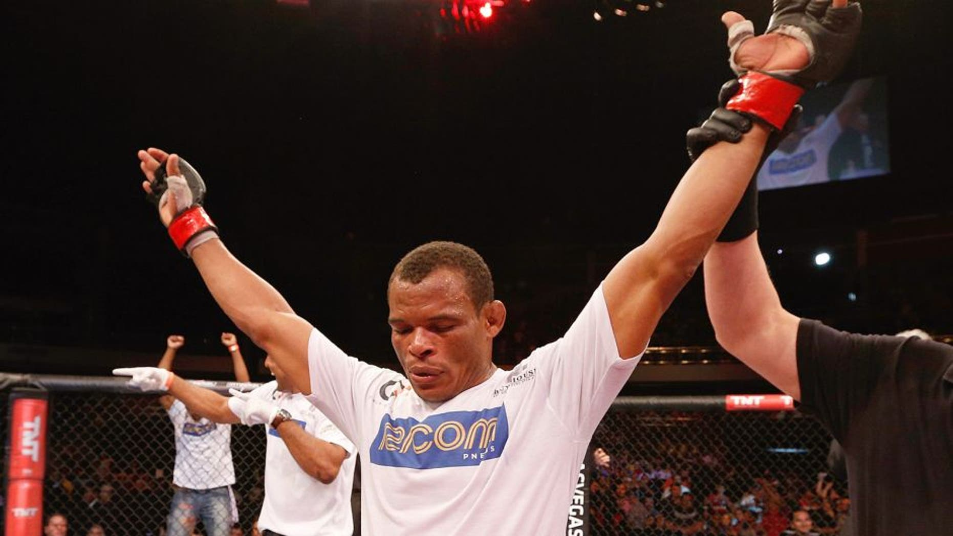 BRASILIA, BRAZIL - SEPTEMBER 13: Francisco Trinaldo celebrates after his unanimous-decision victory over Leandro Silva in their lightweight bout during the UFC Fight Night event inside Nilson Nelson Gymnasium on September 13, 2014 in Brasilia, Brazil. (Photo by Josh Hedges/Zuffa LLC/Zuffa LLC via Getty Images)