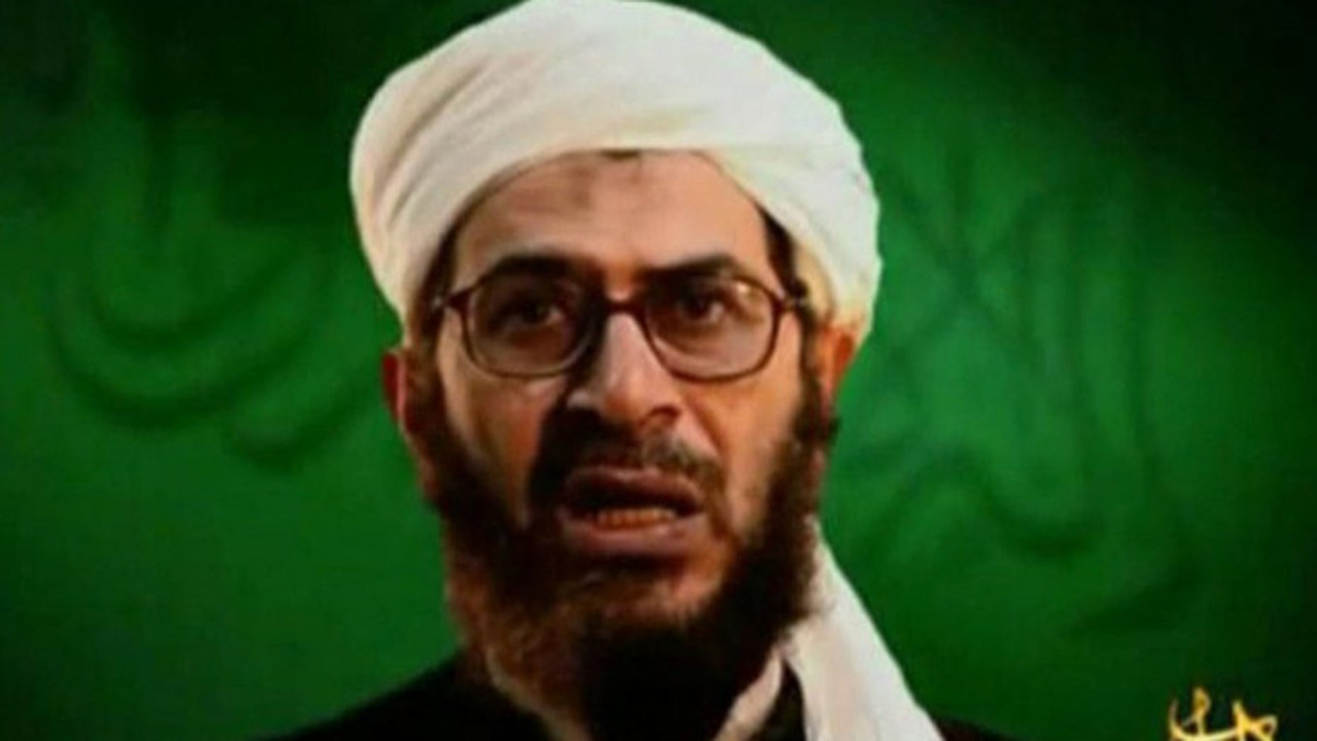 A file video grab of undated footage from the Internet shows Al Qaeda leader Mustafa al-Yazid in Afghanistan.