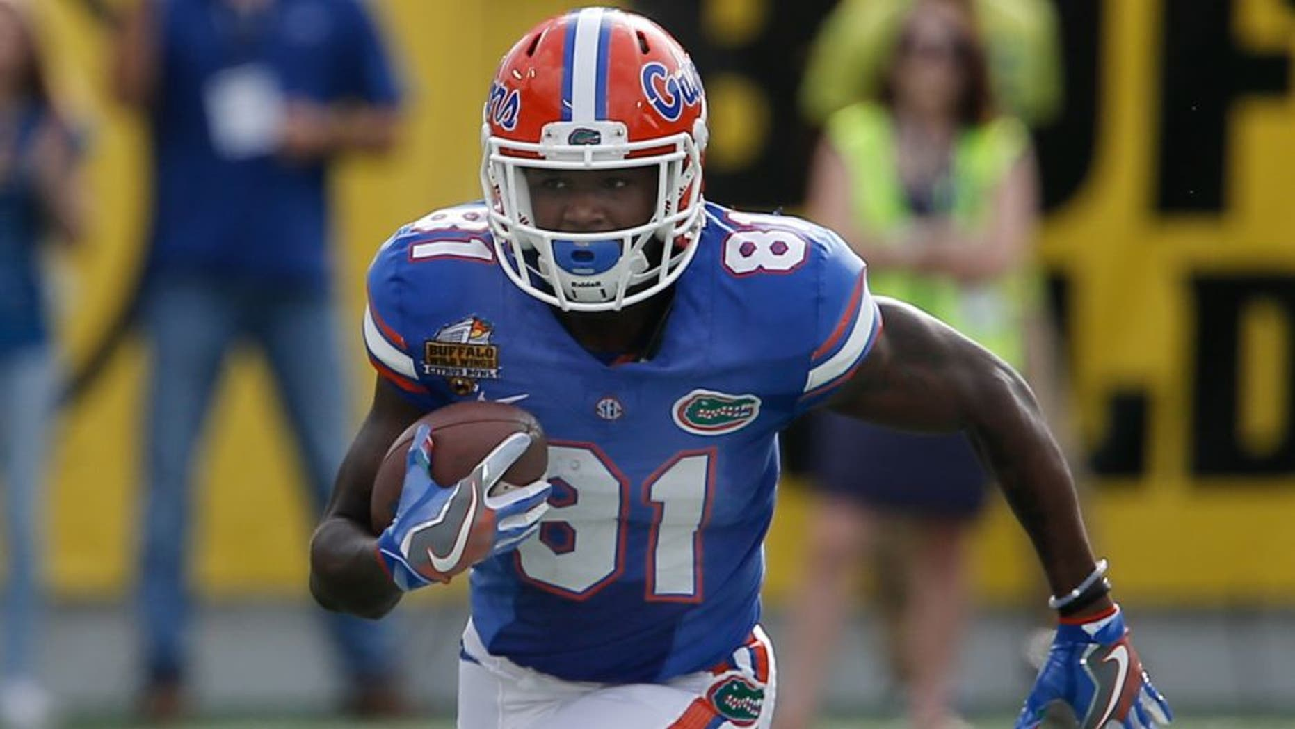 Jan 1, 2016; Orlando, FL, USA; Florida Gators wide receiver Antonio Callaway (81) runs during the second quarter against the Michigan Wolverines in the 2016 Citrus Bowl at Orlando Citrus Bowl Stadium. Mandatory Credit: Reinhold Matay-USA TODAY Sports