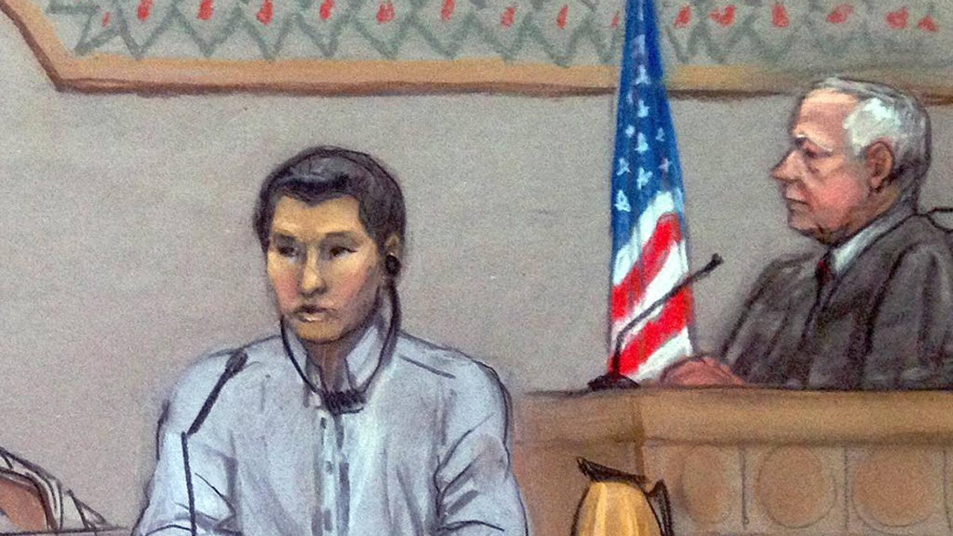 June 2, 2014: In this file courtroom sketch, Dias Kadyrbayev, left, testifies in federal court in Boston.(AP)