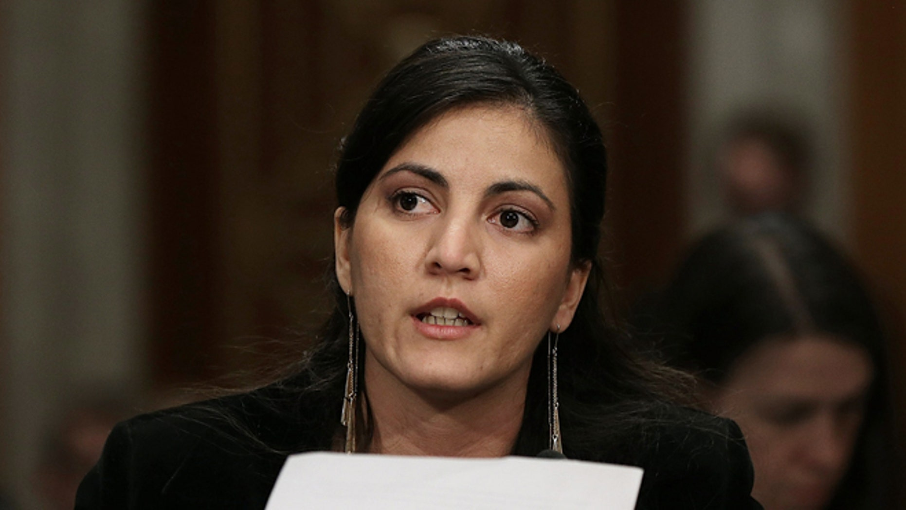 WASHINGTON, DC - FEBRUARY 03:  Rosa Maria Paya, of the Cuban Christian Liberation Movement, testifies during a Senate Foreign Relations Western Hemisphere Subcommittee hearing February 3, 2015 in Washington, DC. The committee heard testimony on the impact of U.S. policy changes in Cuba. Also pictured is the leader of Cuba's Ladies in White activist group Berta Solar (C).  (Photo by Win McNamee/Getty Images)