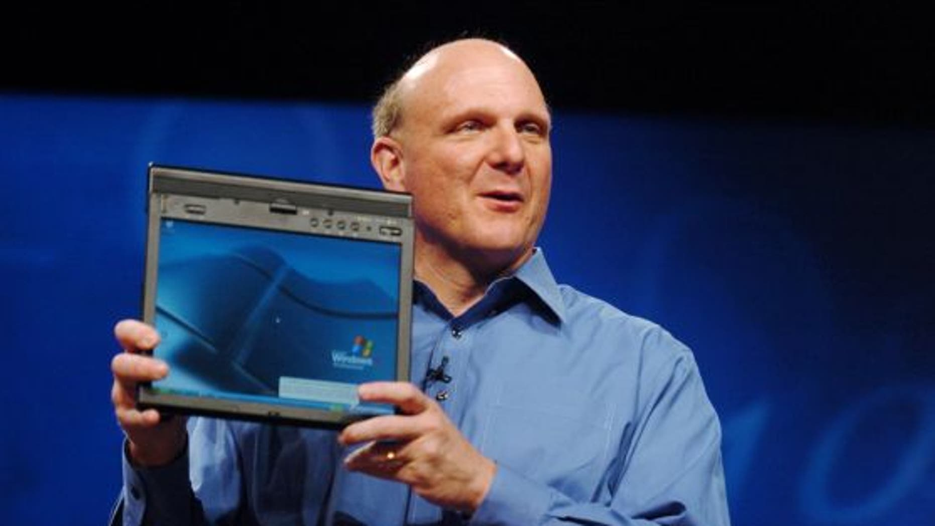 Microsoft CEO Steve Ballmer unveils the new ThinkPad X41 Tablet, a powerful business PC from Lenovo,  at Microsoft's TechEd 2005 held Monday June 6, 2005, at the Orange County Convention Center, Orlando, Florida.