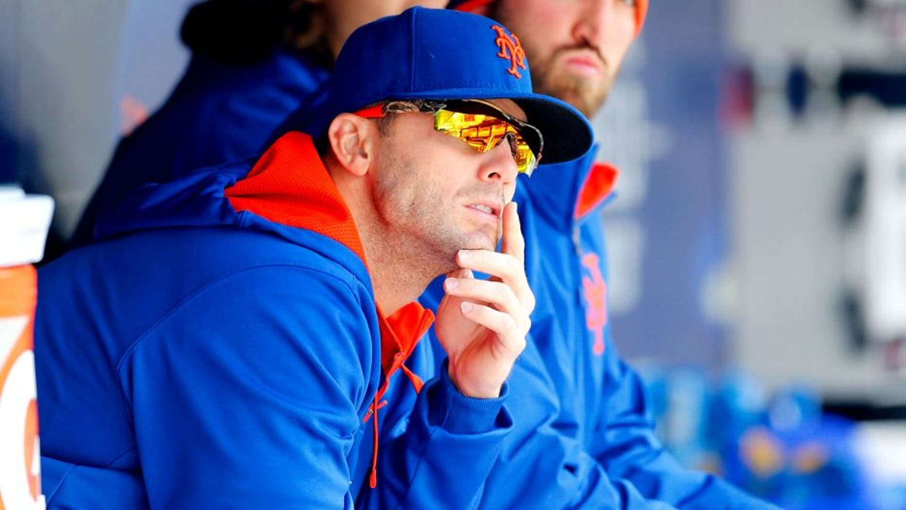 NEW YORK, NY - APRIL 23: David Wright #5 of the New York Mets looks on against the Atlanta Braves at Citi Field on April 23, 2015 in the Flushing neighborhood of the Queens borough of New York City. The Mets defeated the Braves 6-3. (Photo by Jim McIsaac/Getty Images)